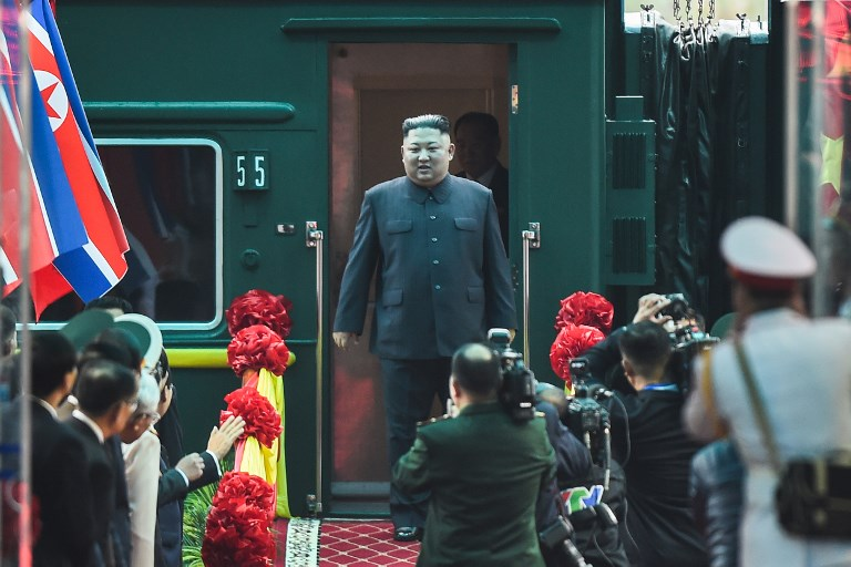 KIM'S ARRIVAL. North Korean leader Kim Jong-un (C) arrives at the Dong Dang railway station in Dong Dang, Lang Son province, on February 26, 2019, to attend the second US-North Korea summit. Photo by Nhac Nguyen/AFP