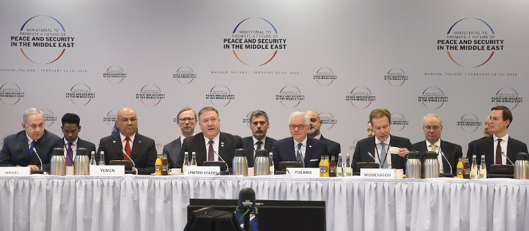 'PROTOCOL ERROR.' Israel's Prime Minister Benjamin Netanyahu, Yemen's Foreign Minister Khalid al-Yamani, US Secretary of State Mike Pompeo, Polish Foreign Minister Jacek Czaputowicz, moderator and White House US Senior Advisor Jared Kushner take part in a session at the conference on Peace and Security in the Middle east in Warsaw, on February 14, 2019. Photo by Janek Skarzynski/AFP