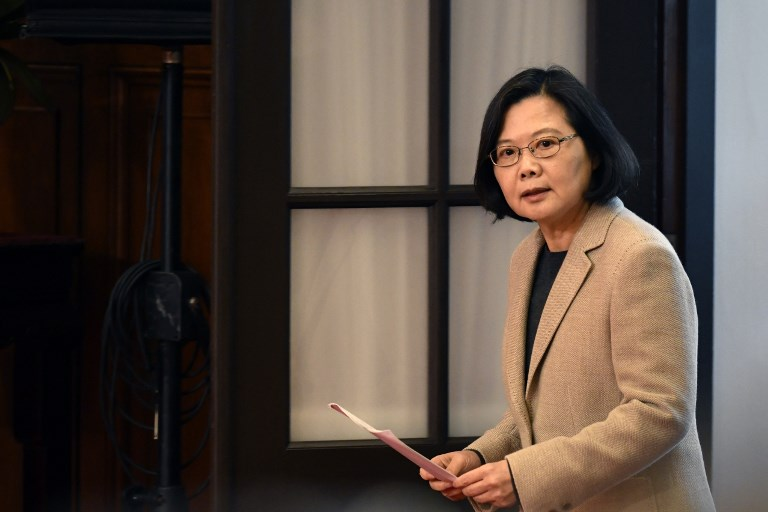 HAWAII VISIT. In this file photo, Taiwan's President Tsai Ing-wen arrives for a press conference at the Presidential Palace after the national flag raising ceremony in Taipei on January 1, 2019. File photo by Sam Yeh/AFP
