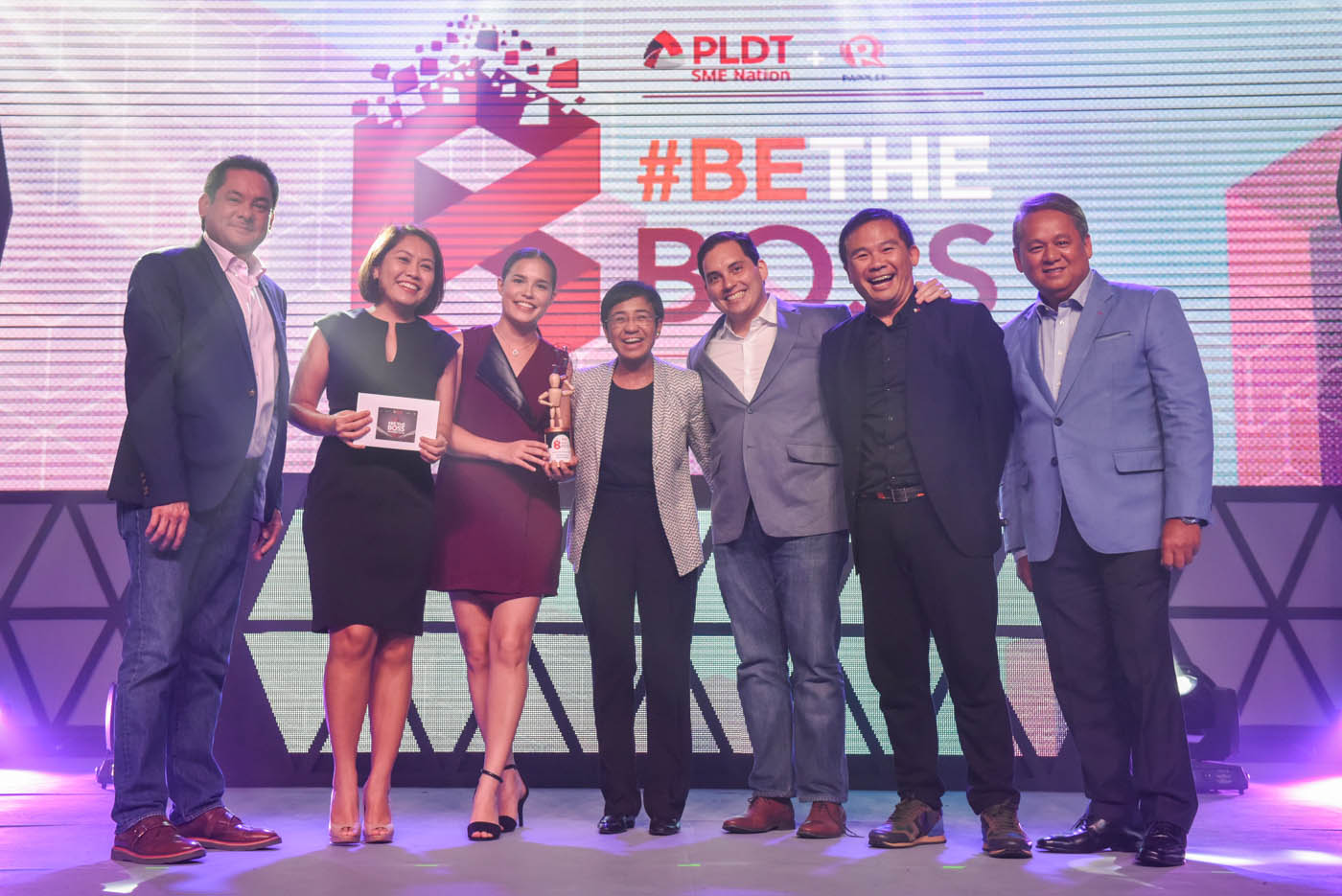 BOSS FOR SOCIAL MEDIA. (L to R) Mitch Locsin, Jill Borja, Nadine Fanlo, Maria Ressa, Jaime Fanlo, Media5 President Chot Reyes, and Eric Alberto