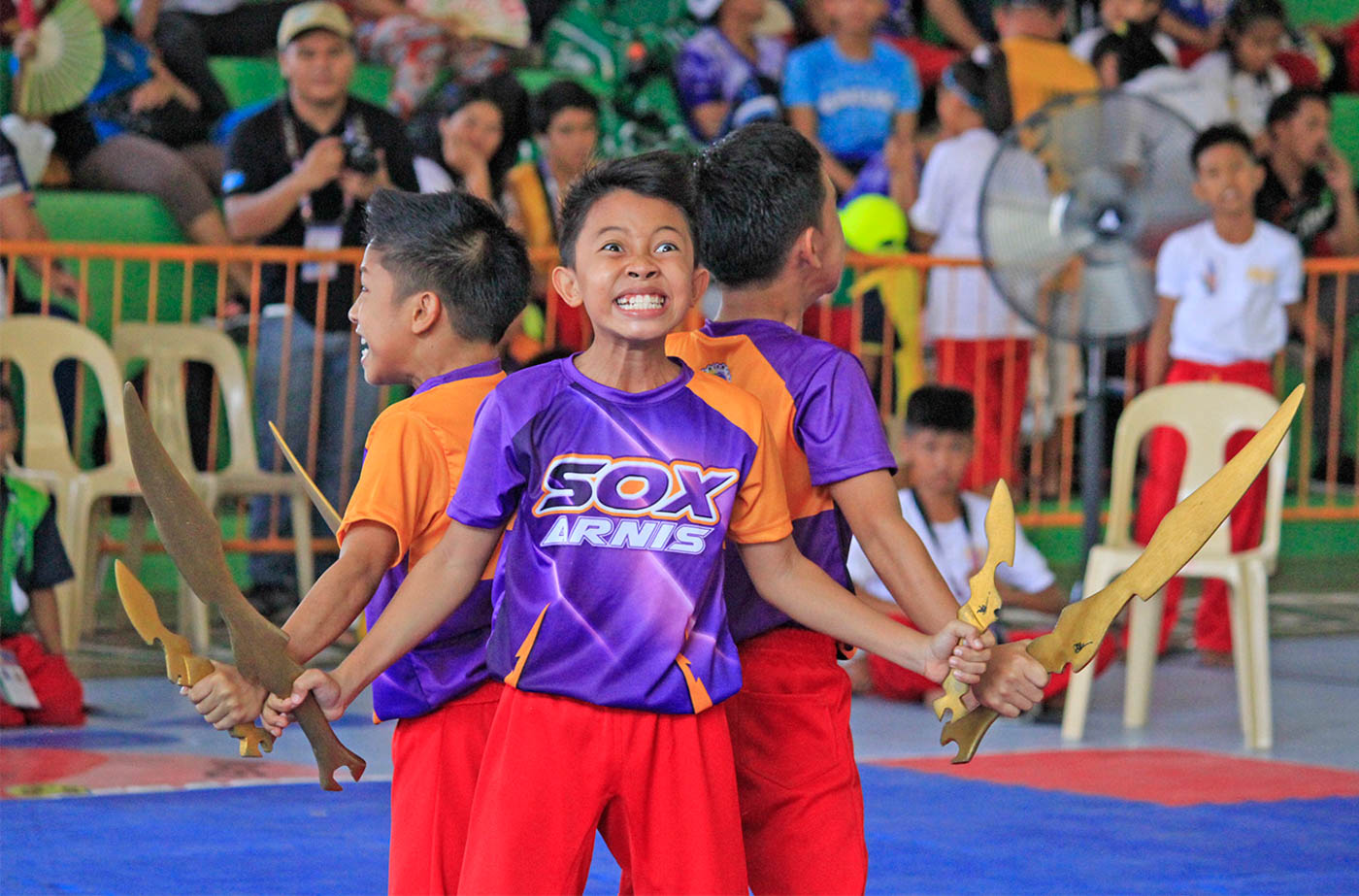 Elementary grade school Andrei Fritz Justine Alcarioto of region XII grab 2 golds medals in boys division of Arnis Sports at the 2018 palarong pambansa 2018. Photo by Mau Victa/Rappler