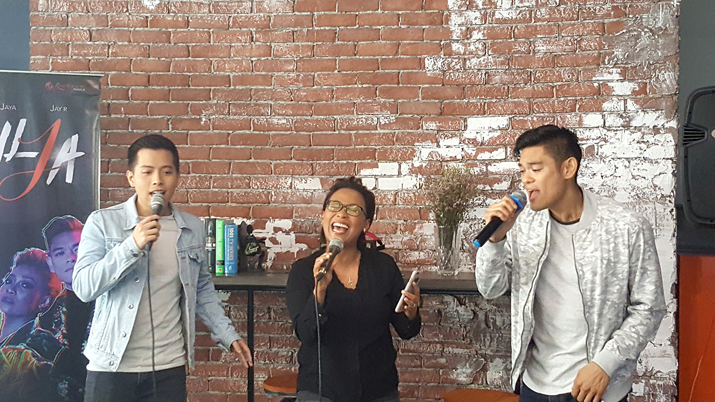 SAMPLE. Jason, Jaya, and Jay-R sing a sample during the press conference for the concert.