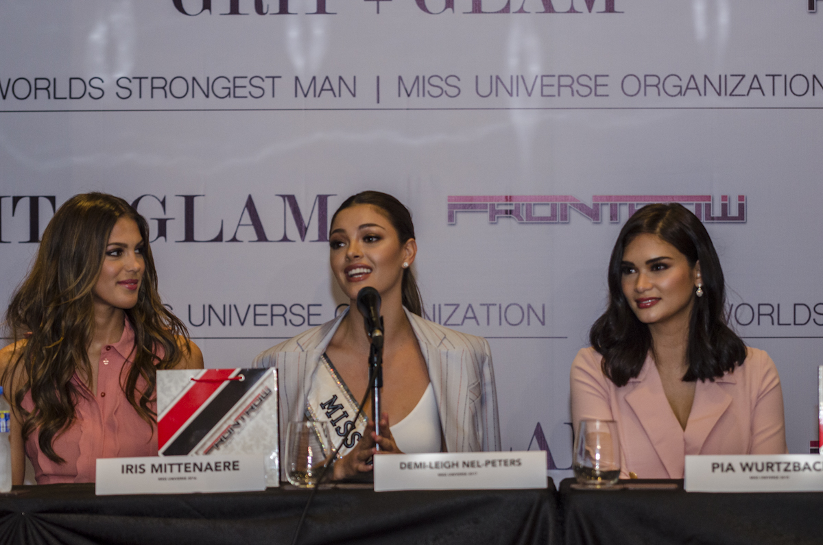 TOGETHER AGAIN. Miss Universe 2017 Demi-Leigh Nel-Peters, Pia Wurtzbach, and Iris Mittenaere headline the Grit u0026 Glam fashion show at the Cove.
