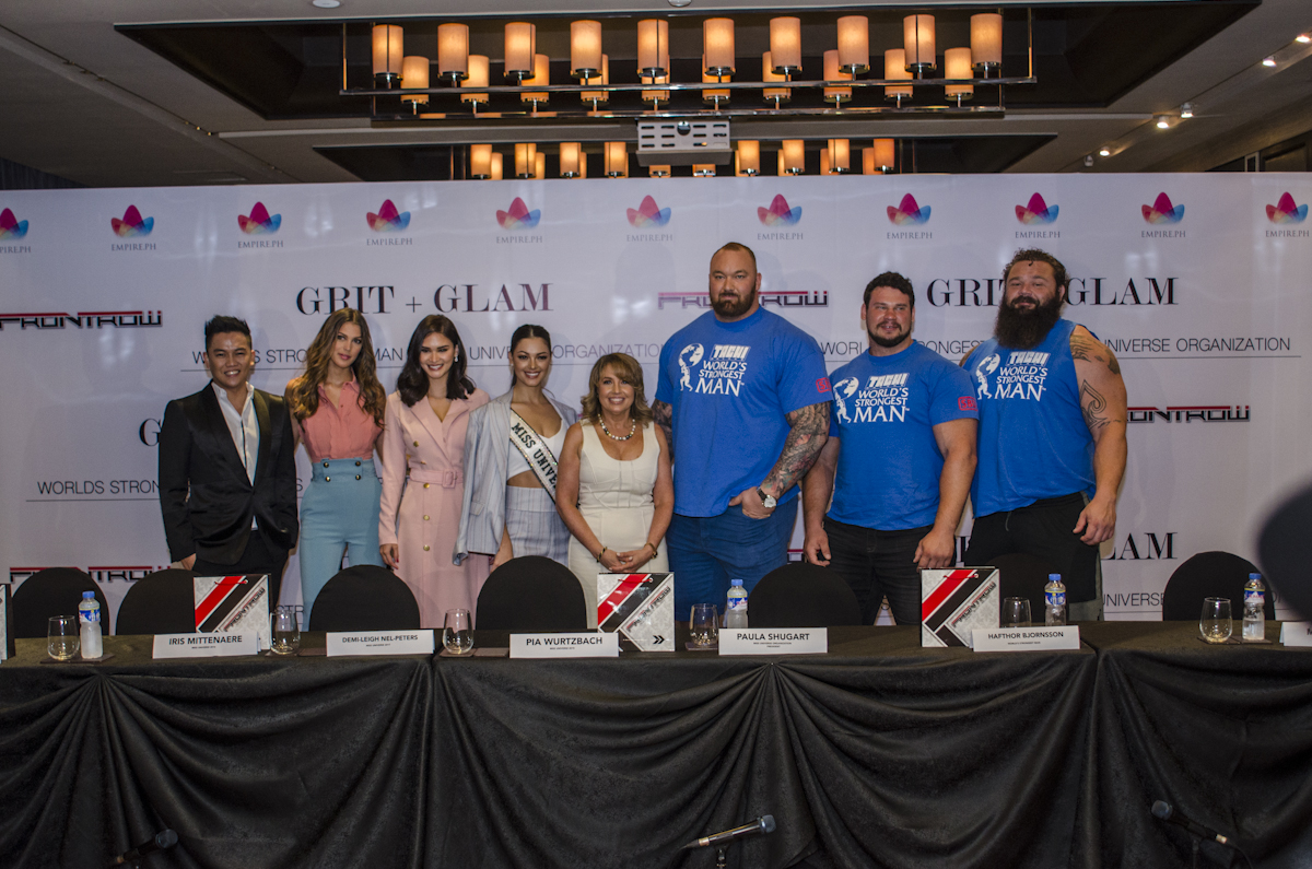 GRIT u0026 GLAM. Frontrow's Sam Verzosa together with the Miss Universe beauty queens, Paula Shugart, and the winners of the World's Strongest Man after the press conference.