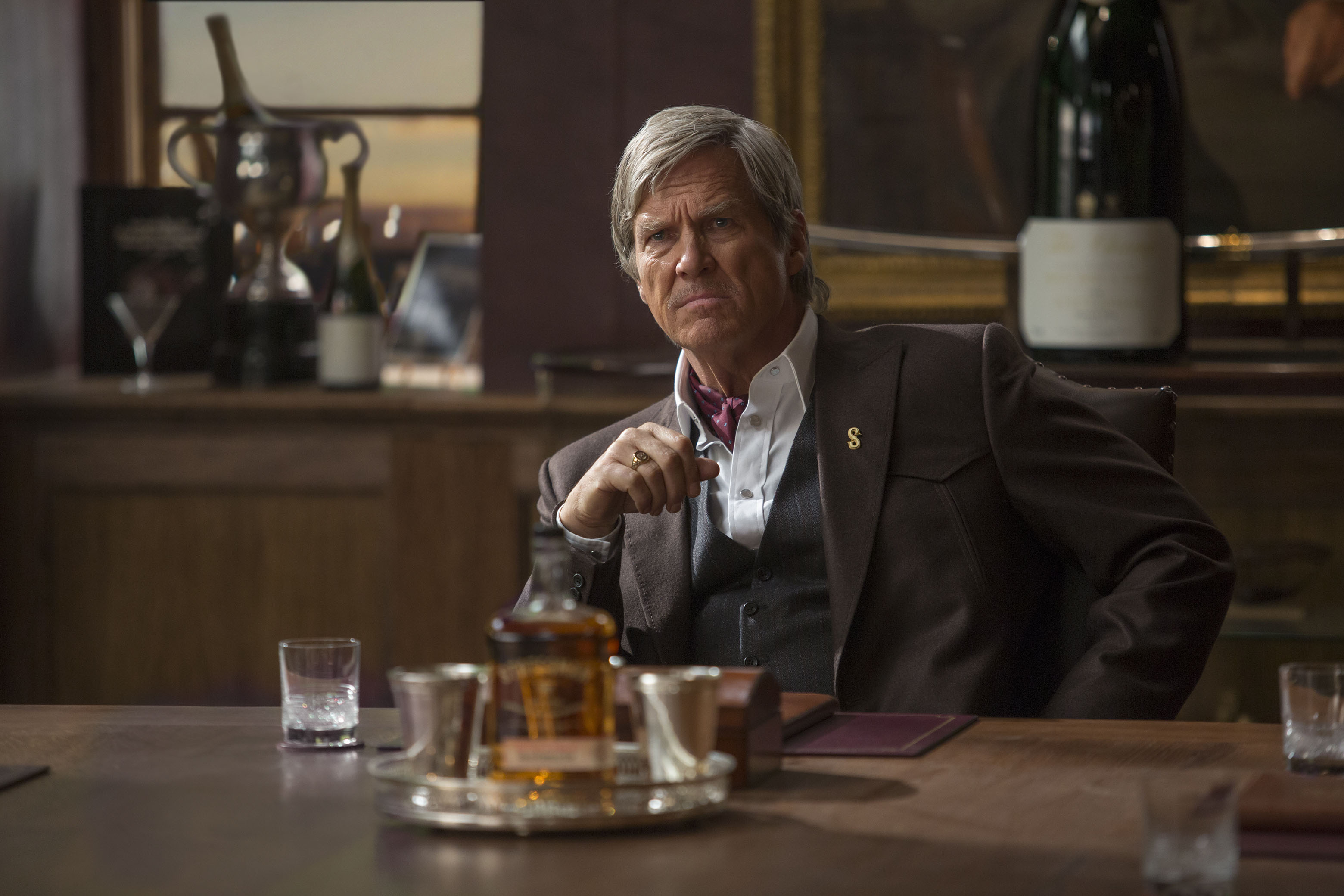 JEFF BRIDGES. The Hollywood icon plays a whiskey-drinking cowboy named Champagne. Photo by Giles Keyte/ 20th Century Fox