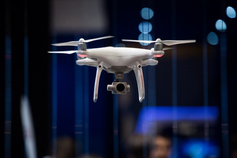 TAKING FLIGHT. A drone flies during the Mobile World Congress on the third day of the MWC in Barcelona, on March 1, 2017.Photo by Josep Lago/AFP
