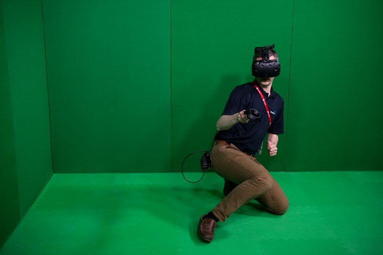 VR. A visitor uses a VR device during the Mobile World Congress on the third day of the MWC in Barcelona, on March 1, 2017.Photo by Josep Lago/AFP