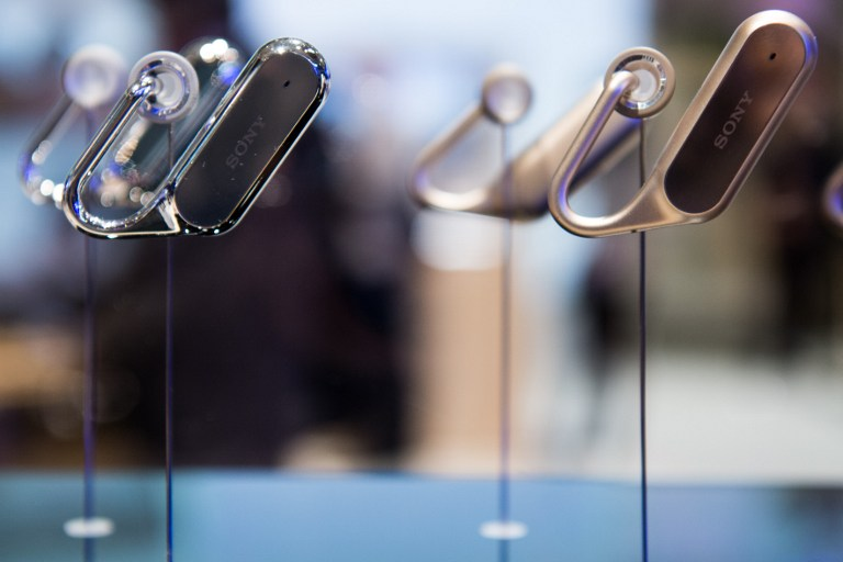 VIRTUAL ASSISTANTS. Sony Xperia ear devices are displayed at the Mobile World Congress on the third day of the MWC in Barcelona, on March 1, 2017. Photo by Josep Lago/AFP