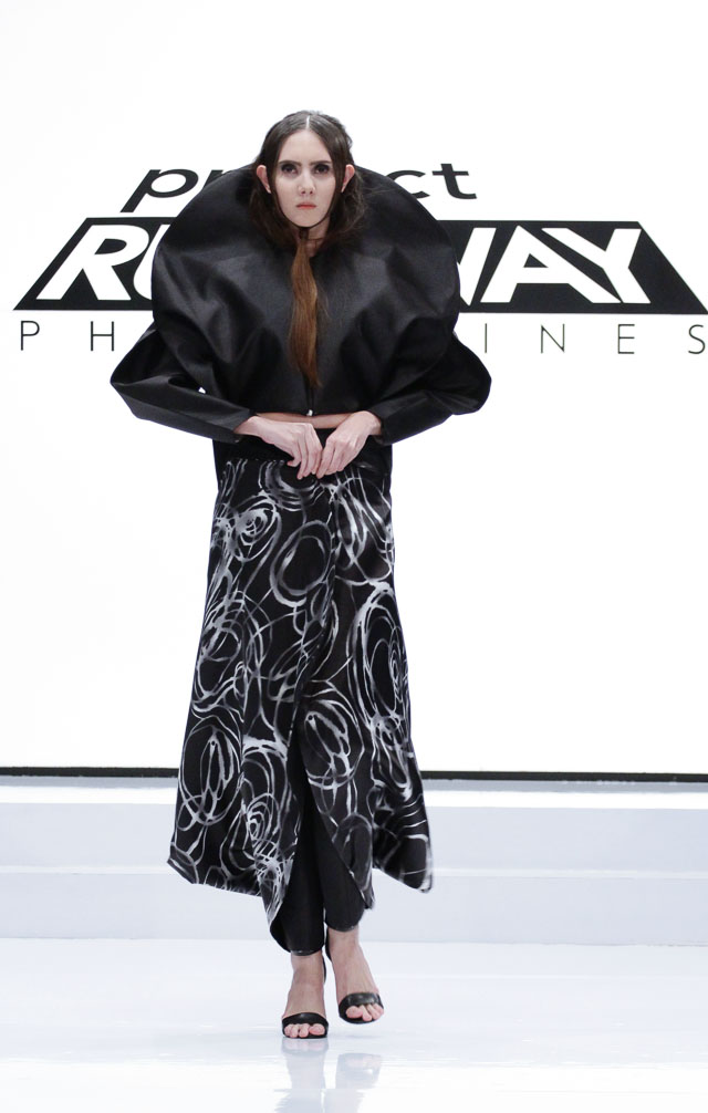 AVANT-GARDE. Joy's design in the 11th episode of the season sent him to the finals. Photo courtesy of Project Runway Philippines