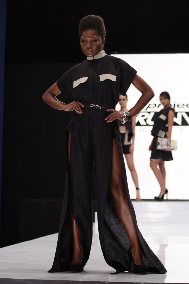 RUSH HOUR. The designers were split into two teams to come up with a ready-to-wear collection for this challenge. Even though this was a group challenge, Joy's design shone and the judges named him the winner. Photo courtesy of Project Runway Philippines