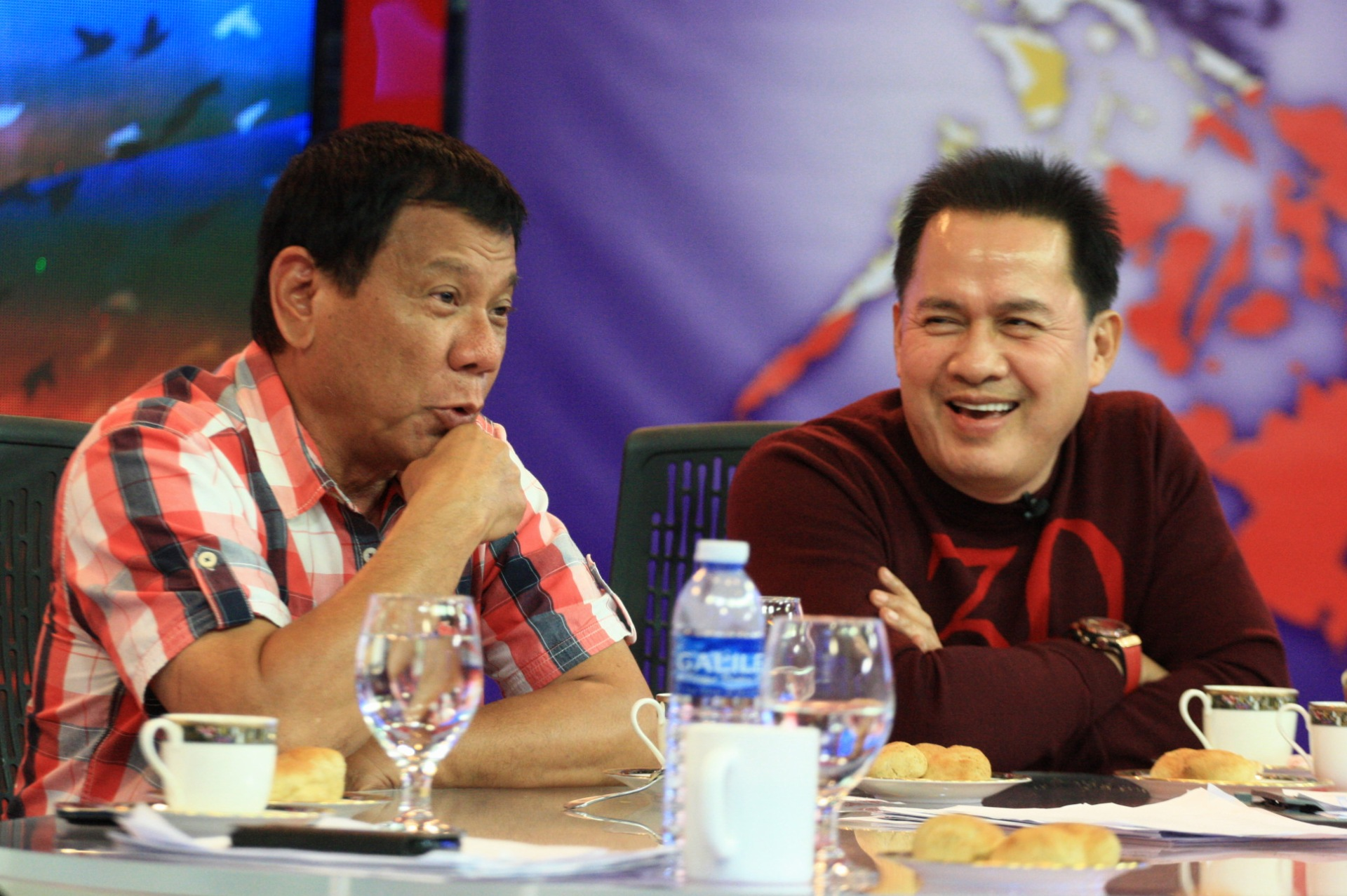 GOOD FRIENDS. Rody Duterte and Pastor Apollo Quiboloy catch up at the end of Election Day in Davao City. Photo by Manman Dejeto/Rappler