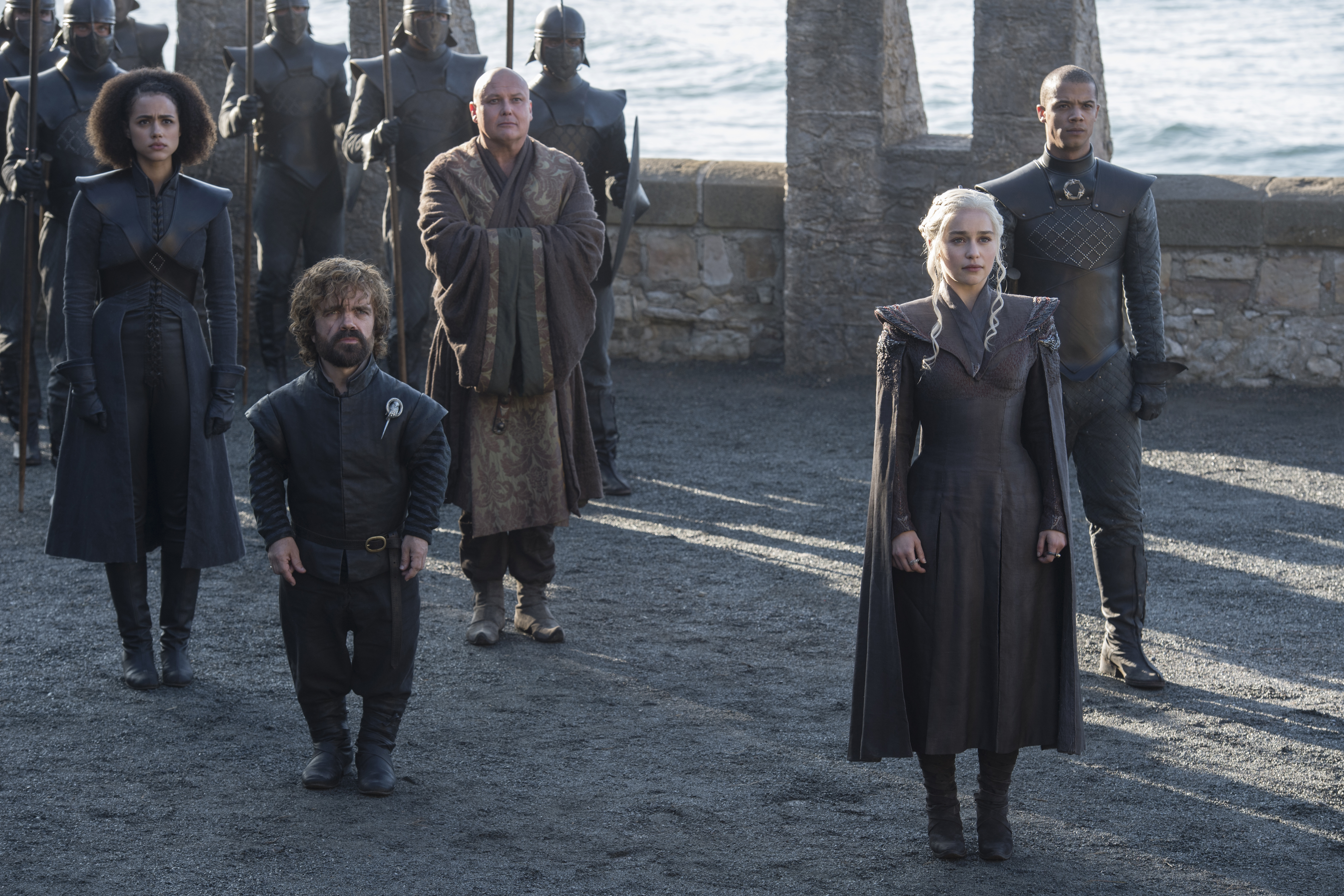 KHALEESI. Emilia Clarke plays Daenerys Targaryen, the Mother of Dragons, in 'Game of Thrones. Left to right: Nathalie Emmanuel, Peter Dinklage, Conleth Hill, Emilia Clarke, and Jacob Anderson. Photo by Macall B. Polay/HBO