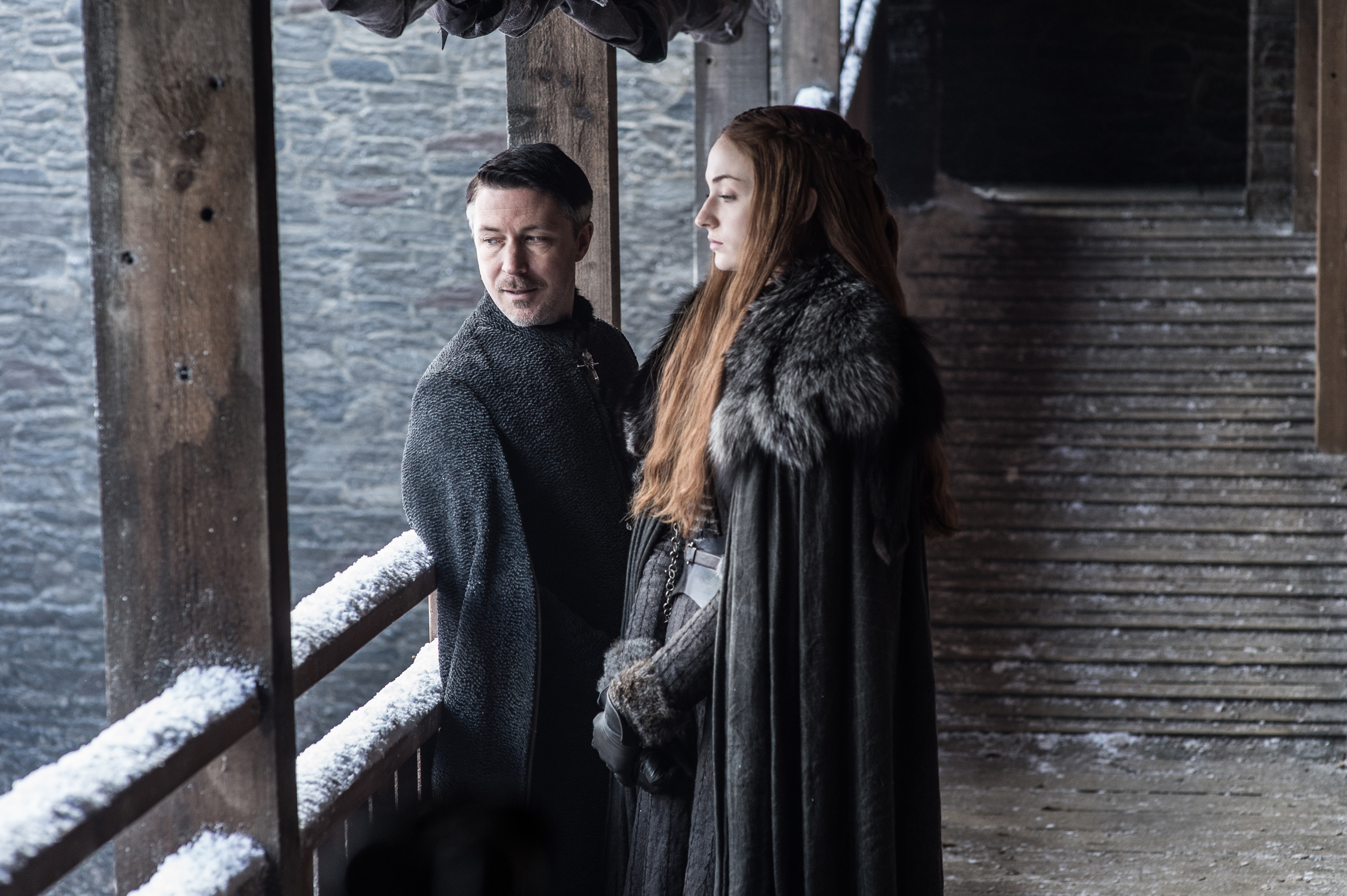 'WINTER IS COMING.' Photo shows Aidan Gillen as Petyr 'Littlefinger' Baelish and Sophie Turner as Sansa Stark. Photo by Helen Sloan/HBO