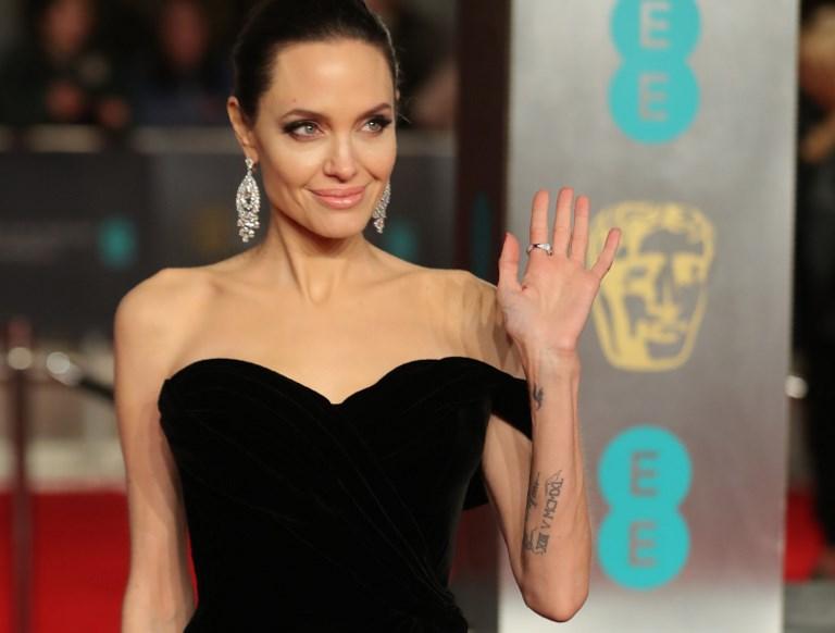 BLACK AT BAFTA. Actress Angelina Jolie in black, arrives at BAFTA British Academy Film Awards at the Royal Albert Hall in London Photo by Daniel Leal-Olivas/AFP