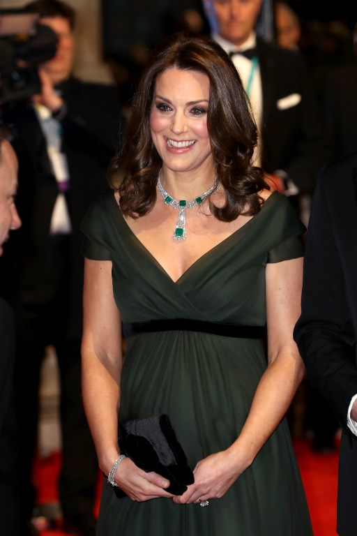 PROTOCOL. Britain's Catherine, Duchess of Cambridge smiles as she attends the BAFTA British Academy Film Awards at the Royal Albert Hall in London on February 18, 2018. Photo by Chris Jackson / AFP