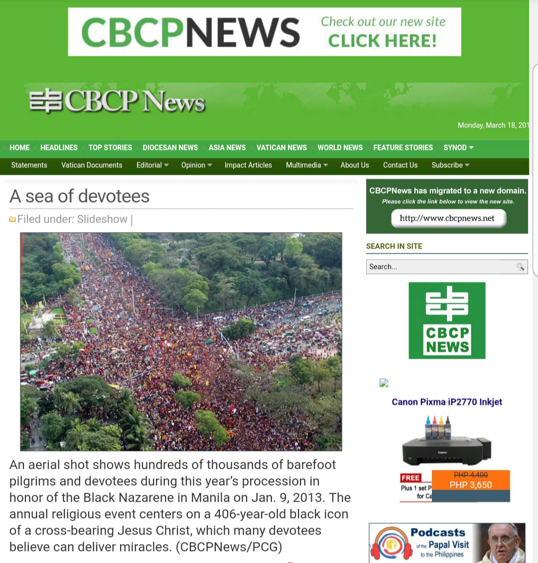 BLACK NAZARENE PROCESSION. The photo is actually of the Nazarene's hundreds of thousands of devotees in January 2013