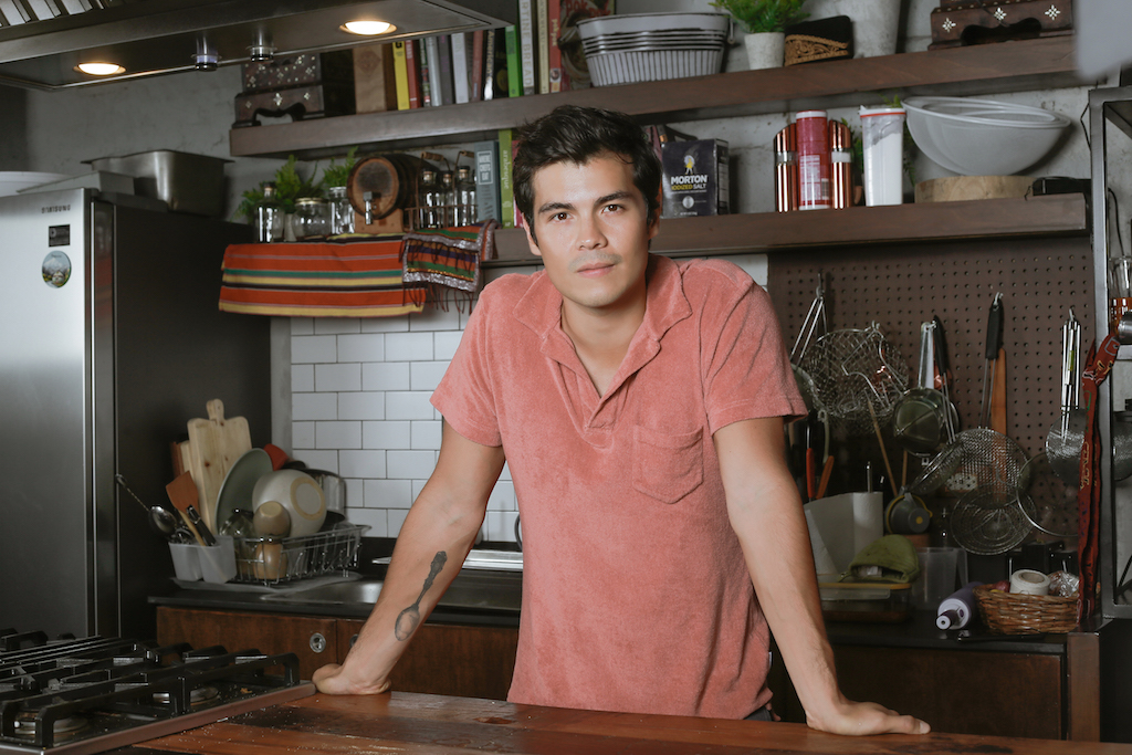 ERWAN'S TURF. Erwan cooks and films content for his blog, The Fat Kid Inside, in his studio kitchen. Photo courtesy of Mundo Design + Build