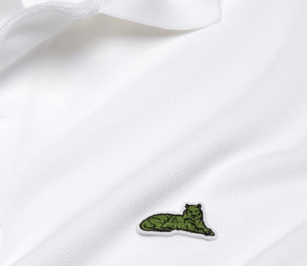 ENDANGERED. The Sumatra tiger logo in a white Lacoste polo shirt. Photo from lacoste.com