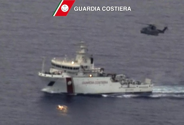 SEARCH AND RESCUE. A handout image from a video released by Italian Coast Guard on 19 April 2015 shows the 'Gregoretti' ship during the search and rescue operations on the site of the shipwreck in the Strait of Sicily, 19 April 2015. Italian Coast Guard/Handout/EPA