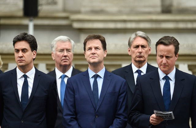 WHAT NOW? British political leaders (L-R) Ed Miliband (Labour), Defence Minister Michael Fallon, Deputy Prime Minister Nick Clegg (Liberal Democrats), Foreign Secretary Philip Hammond, and British Prime Minister David Cameron (Conservative), at the Cenotaph for the VE70 Commemorations in Whitehall, central London, England, May 8, 2015. Andy Rain/EPA