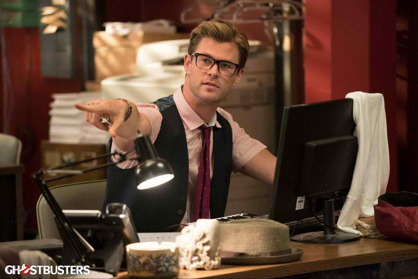 CHRIS HEMSWORTH. Chris plays the Ghostbusters' secretary in the movie. Photo courtesy of Columbia Pictures