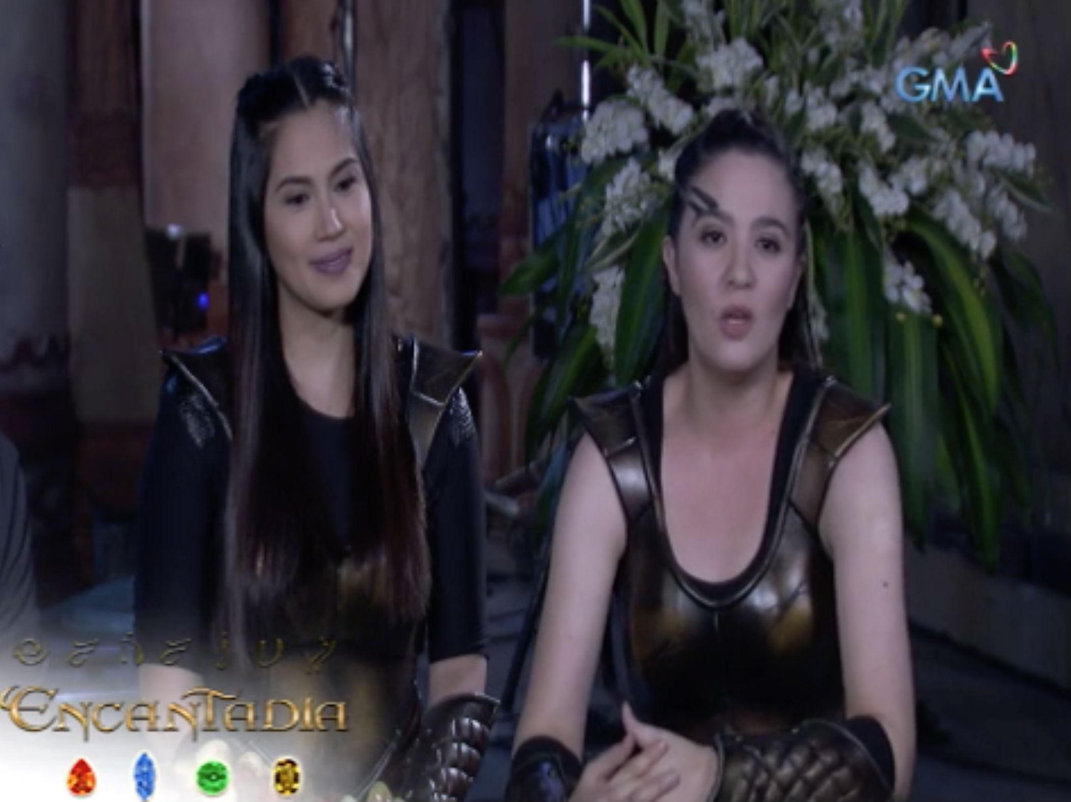 Sunshine Dizon and Diana Zubiri reunite in 'Encantadia' as Adhara and Lilasari. Sunshine originally played Pirena, while Diana played Danaya in the 2005 version of the show. Screengrab from GMA/Encantadia