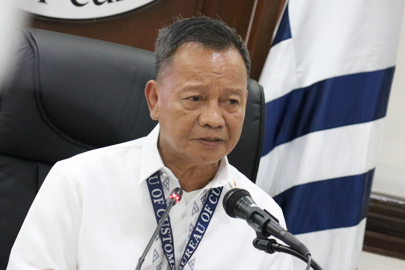 IN DEFENSE. Bureau of Customs Commissioner Isidro Lapeu00f1a talks to media during a press conference on August 11, 2018, on the backtracking and ongoing investigation of the intercepted shabu in MICP. BOC Public Information u0026 Assistance Division photo