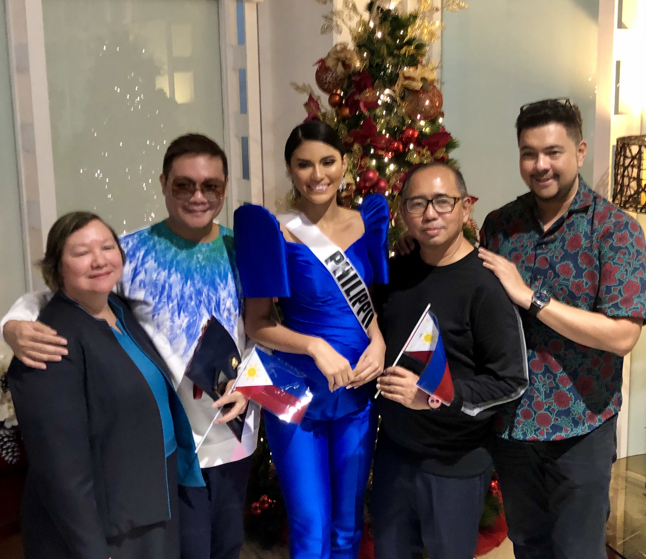 SUPPORT.  Liliana Soriano of BPCI, Jonas Gaffud of Miss Universe Philippines, Gazini Ganados, Rodgil Flores of Kagandahang Flores Camp, and Gines Enriquez of BPCI all came to show a unified front for our country.