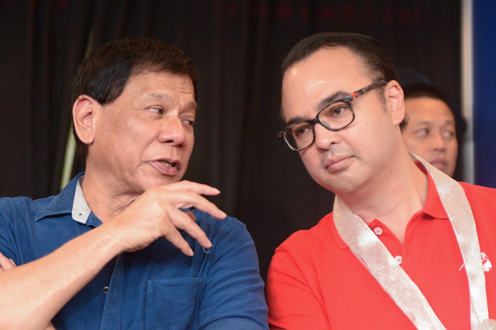 TANDEM. Rodrigo Duterte and Alan Peter Cayetano team up for the 2016 elections. File photo by Jansen Romero/Rappler