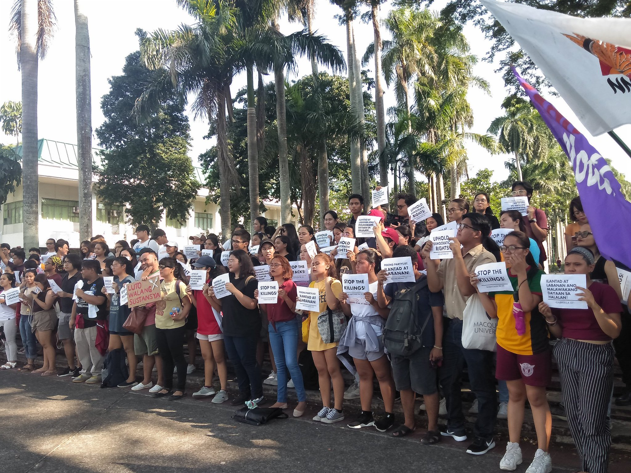 LAGUNA. Groups at the University of the Philippines Los Bau00f1os denounce the perceived irregularities in the midterm elections. Photo by Rosemarie de Castro/Rappler