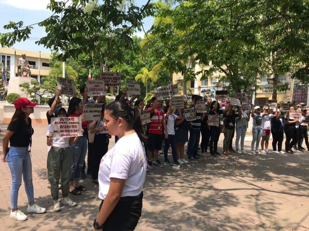 BULACAN. Youth groups at the Bulacan State University also hold protest in relation to the midterm elections. Photo courtesy of Anakbayan-BulSu