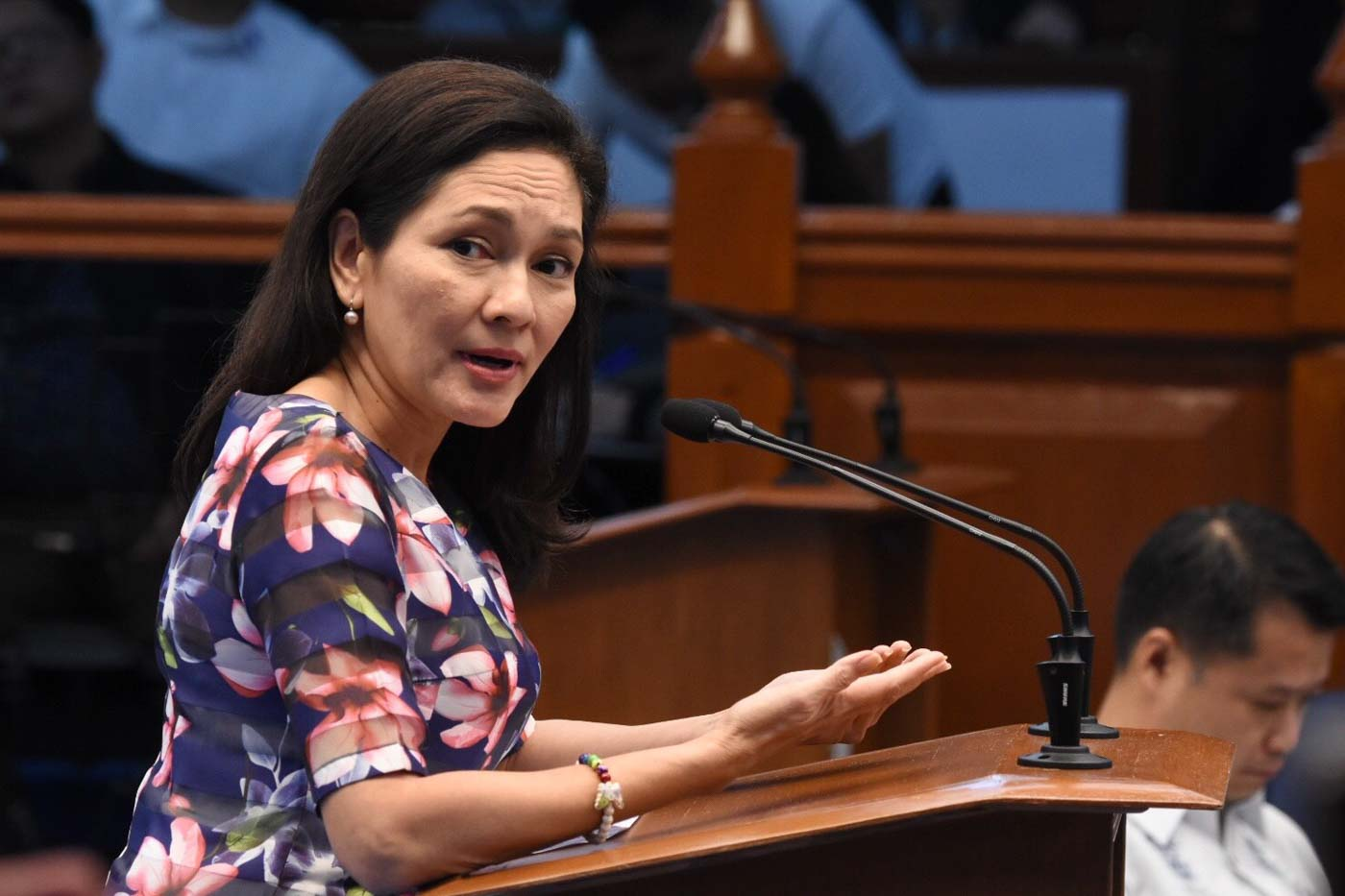 CRASH COURSE. Senator Risa Hontiveros explains the basics of LGBT and SOGIE to fellow senators. Photo by Angie de Silva/Rappler
