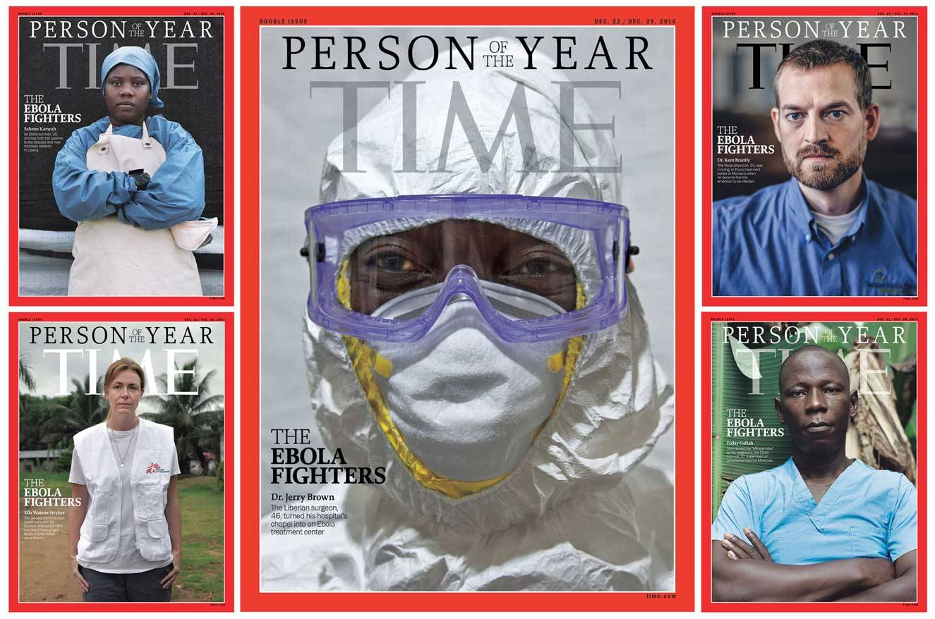 The Time 2014 Persons of the Year covers, with the one featuring Karwah on the upper left hand side. Photo courtesy Time magazine