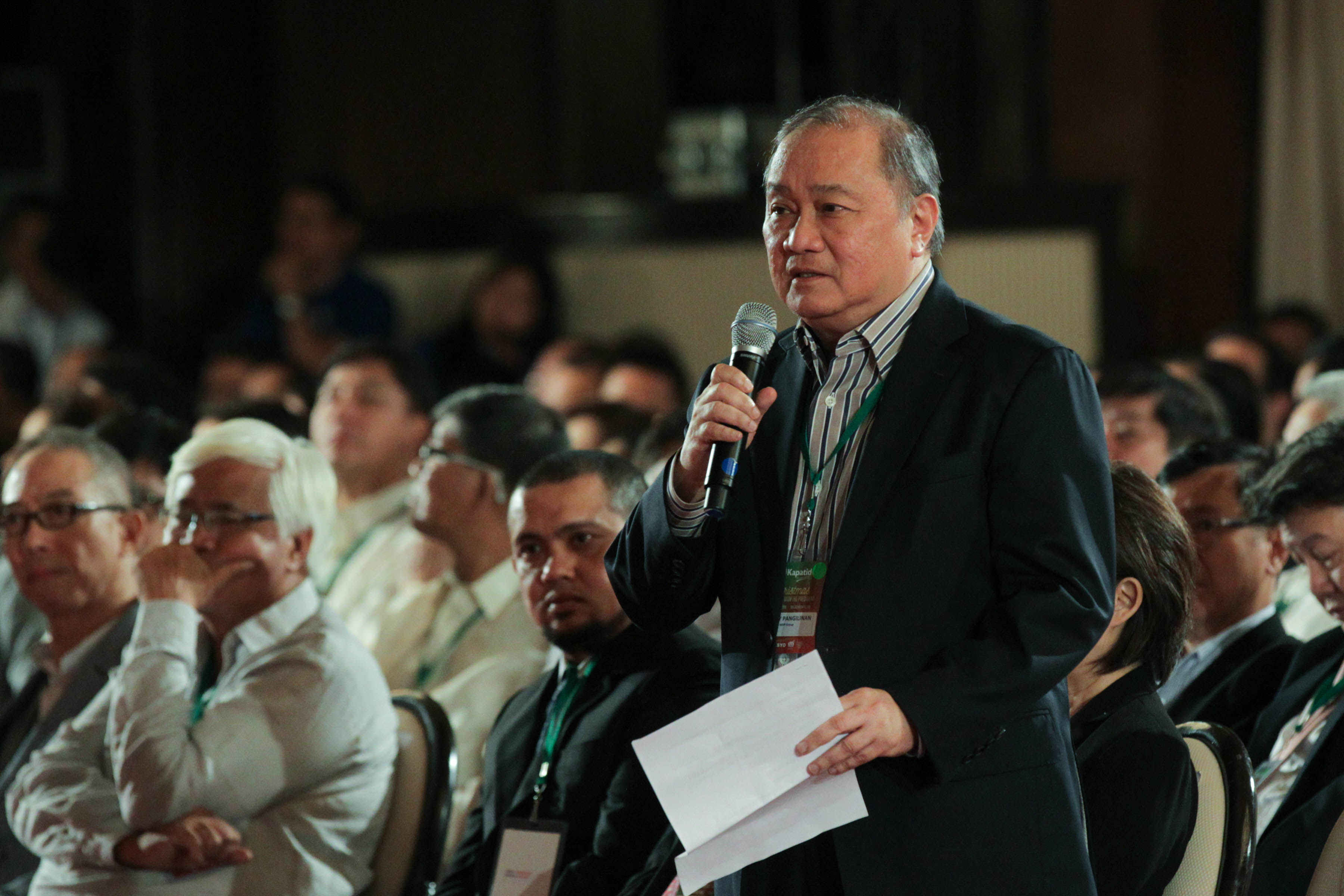 PLEDGE FOR SULU. Businessman Manny V Pangilinan speaks at the Go Negosyo event for Sulu development in Malacau00f1ang. Photo from PPD