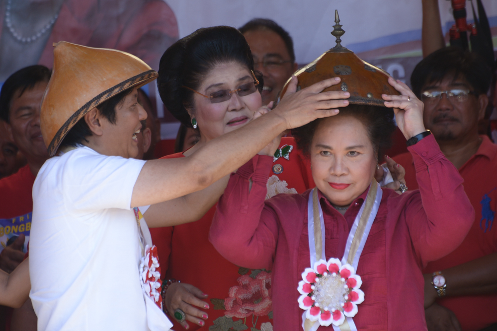 At their proclamation rally in Batac, Ilocos Norte, on February 9, 2016, presidential candidate Sen. Miriam Defensor Santiago (right) and Sen. Ferdinand Marcos Jr. Photo by Jasmin Dulay/Rappler