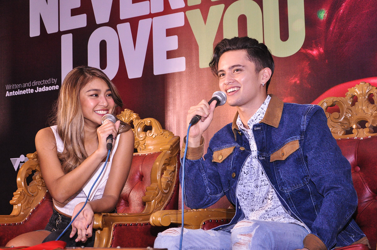 Nadine Lustre and James Reid at a press conference for 'Never Not Love You' in March 2018. File photo by Jay Ganzon/Rappler