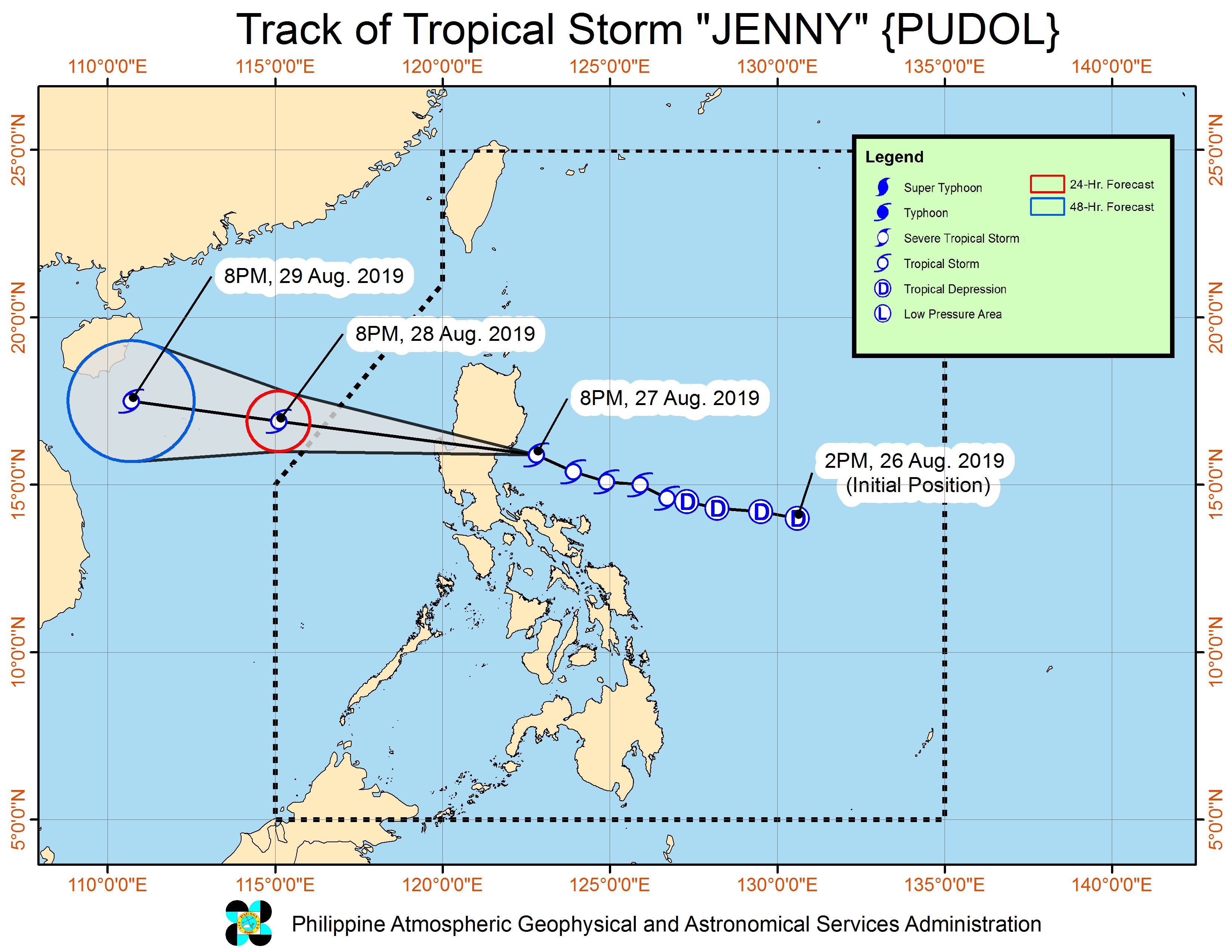 Forecast track of Tropical Storm Jenny (Podul) as of August 27, 2019, 11 pm. Image from PAGASA