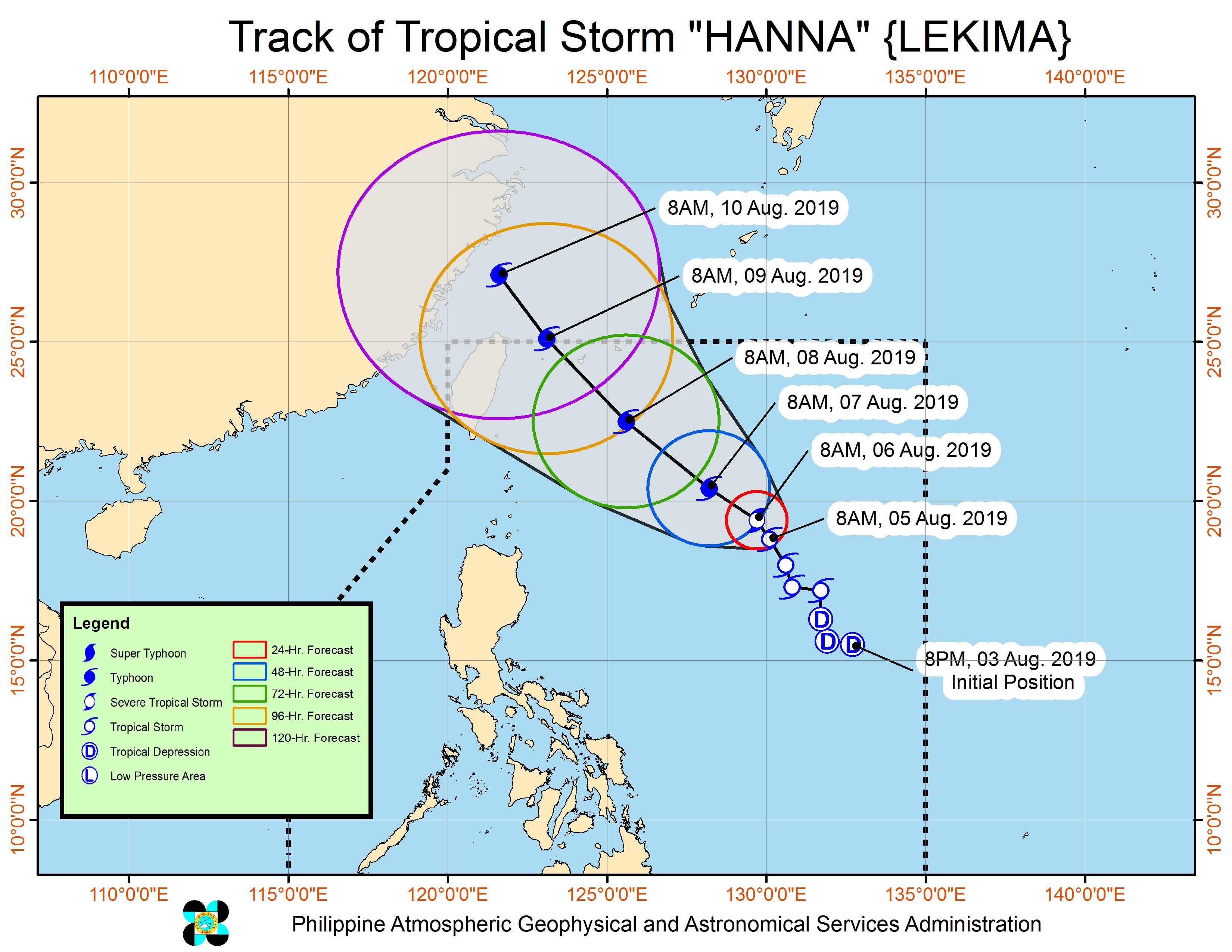 Forecast track of Tropical Storm Hanna (Lekima) as of August 5, 2019, 11 am. Image from PAGASA