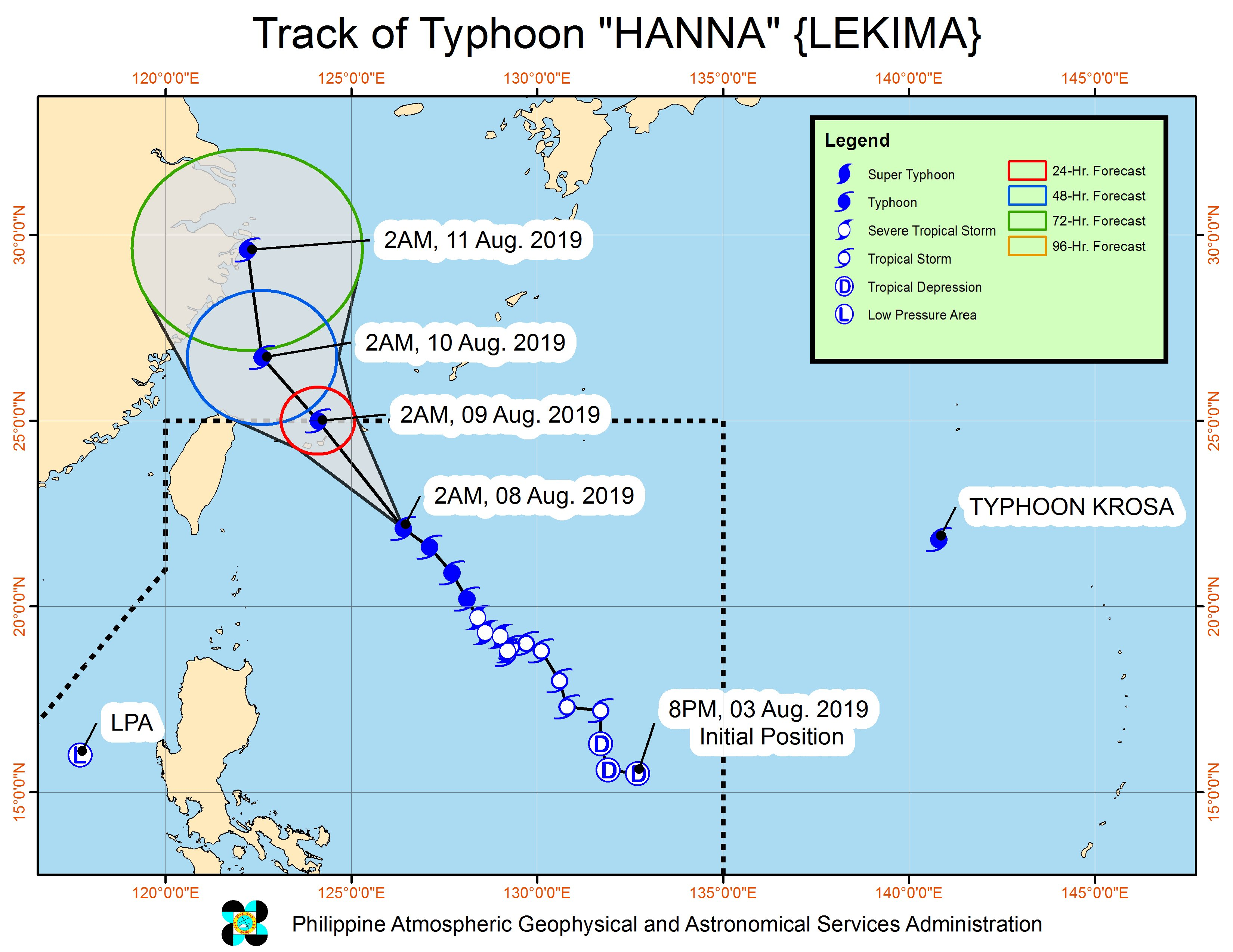 Forecast track of Typhoon Hanna (Lekima) as of August 8, 2019, 5 am. Image from PAGASA
