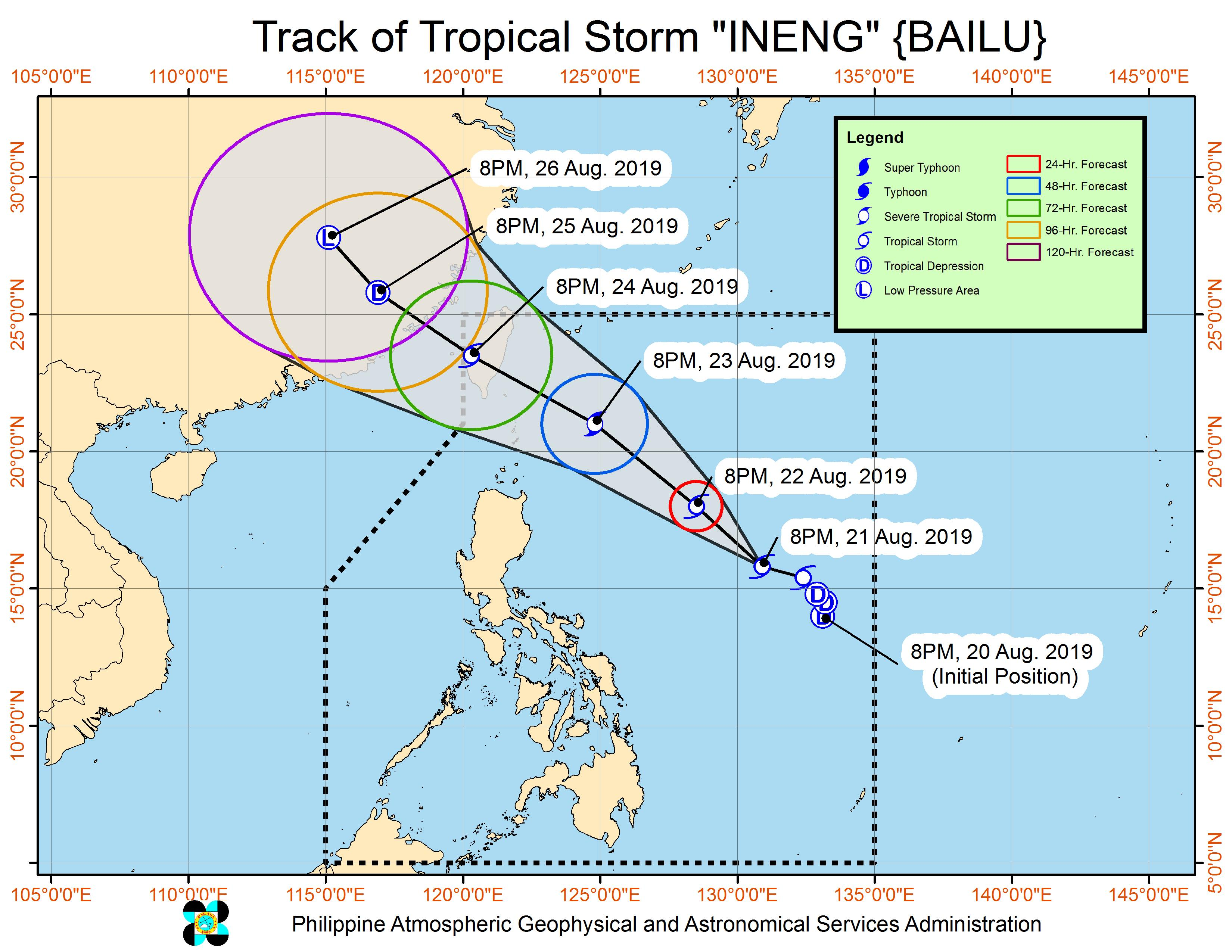 Forecast track of Tropical Storm Ineng (Bailu) as of August 21, 2019, 11 pm. Image from PAGASA