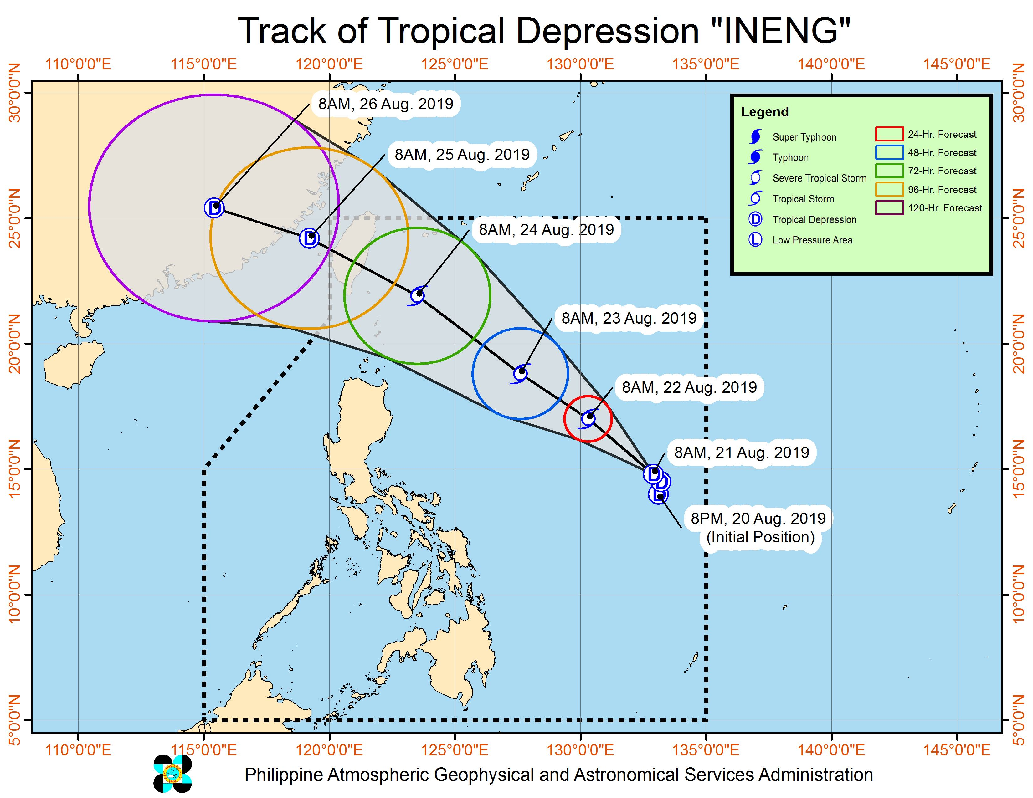 Forecast track of Tropical Depression Ineng as of August 21, 2019, 11 am. Image from PAGASA