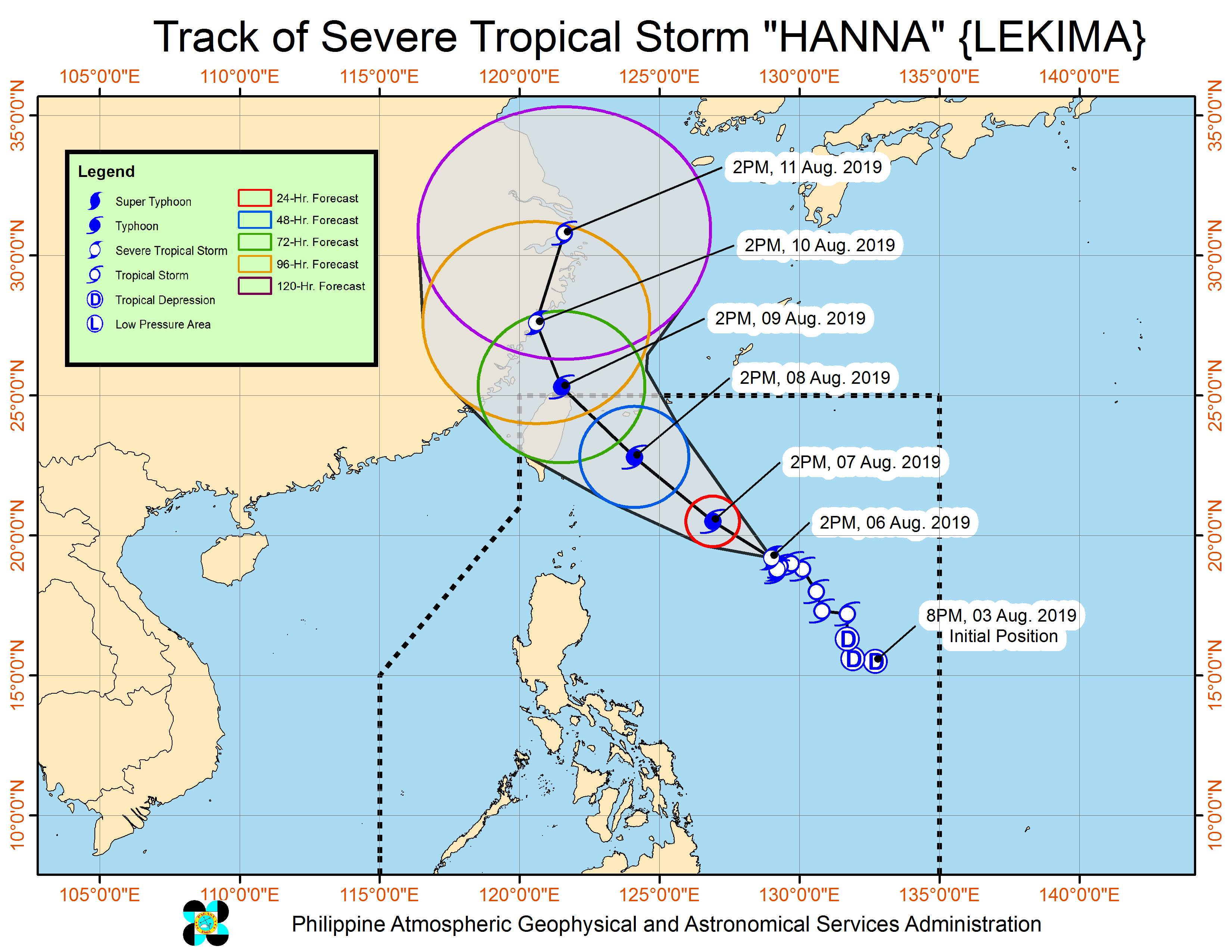 Forecast track of Severe Tropical Storm Hanna (Lekima) as of August 6, 2019, 5 pm. Image from PAGASA