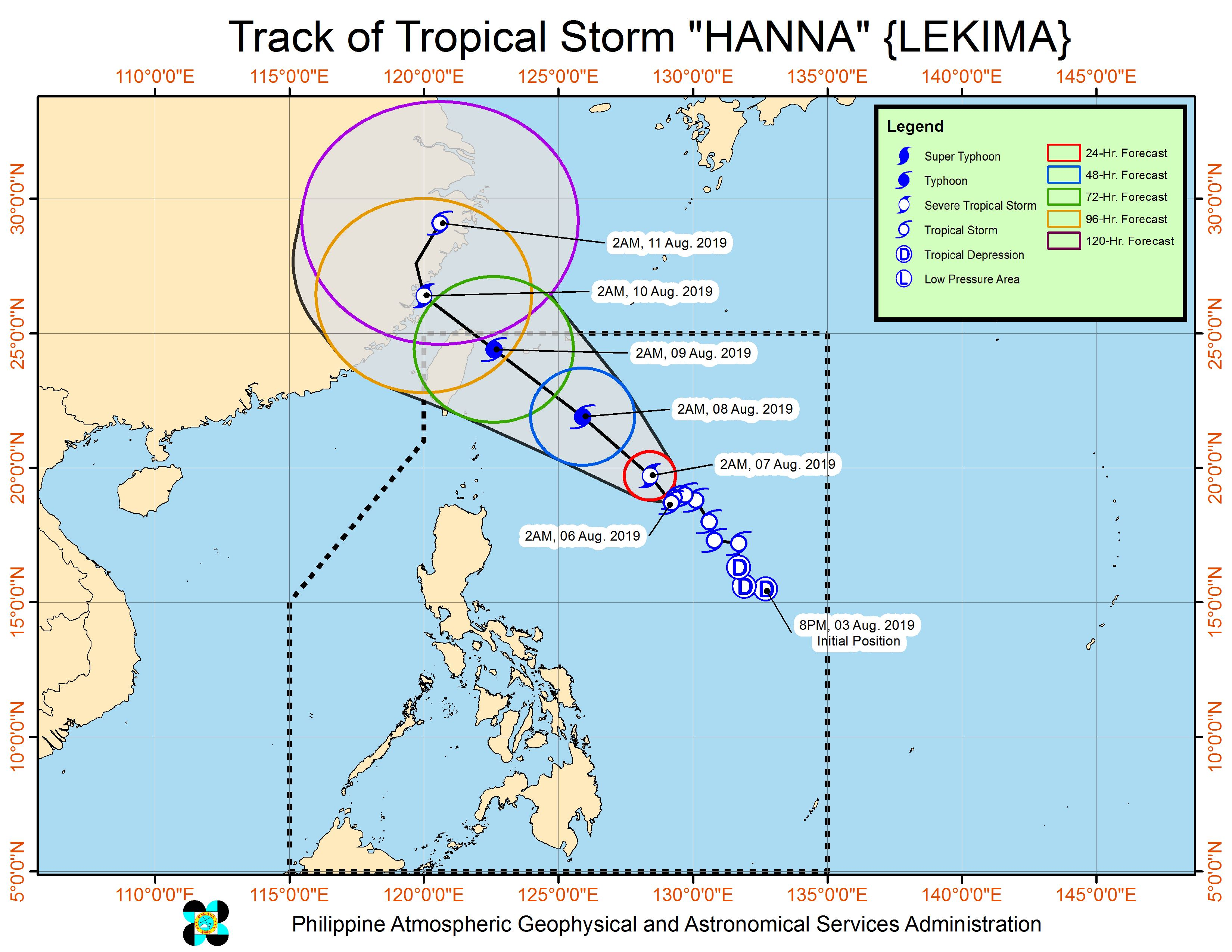 Forecast track of Tropical Storm Hanna (Lekima) as of August 6, 2019, 5 am. Image from PAGASA