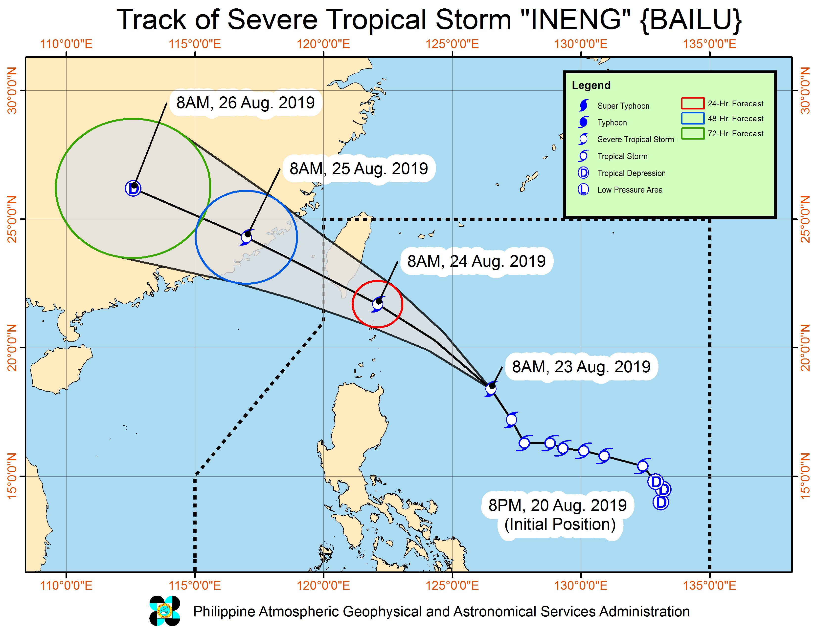 Forecast track of Severe Tropical Storm Ineng (Bailu) as of August 23, 2019, 11 am. Image from PAGASA