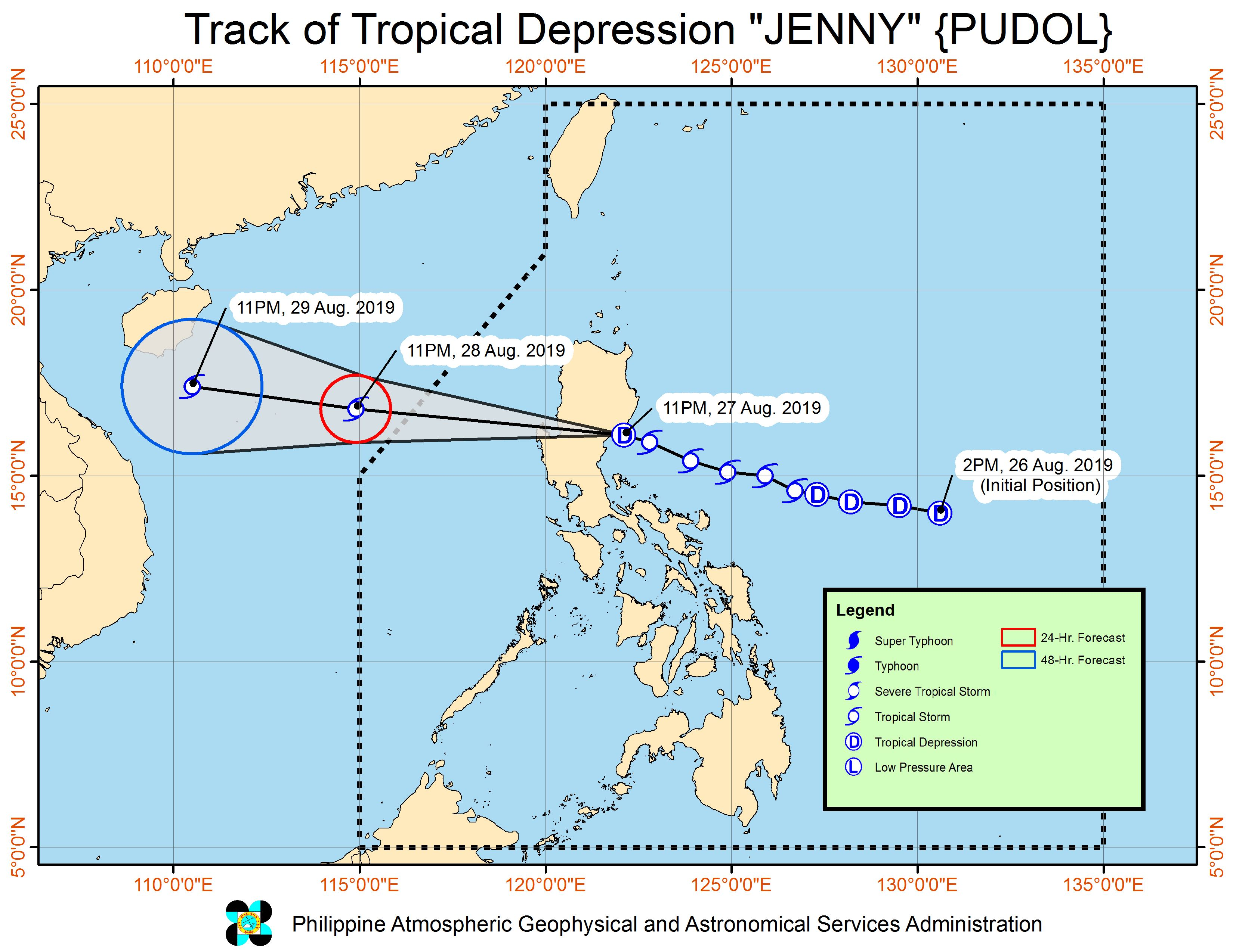 Forecast track of Tropical Depression Jenny (Podul) as of August 28, 2019, 2 am. Image from PAGASA