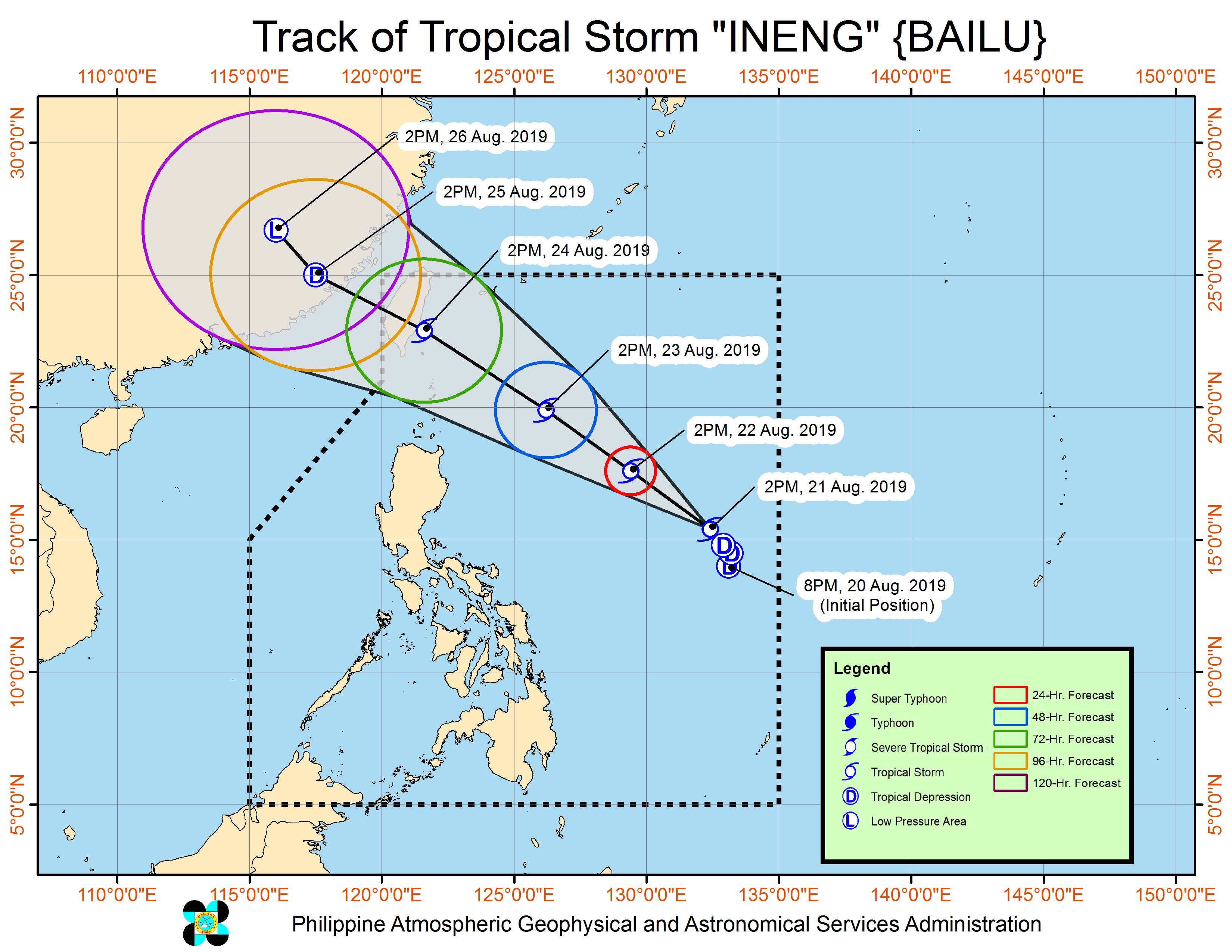 Forecast track of Tropical Storm Ineng (Bailu) as of August 21, 2019, 5 pm. Image from PAGASA