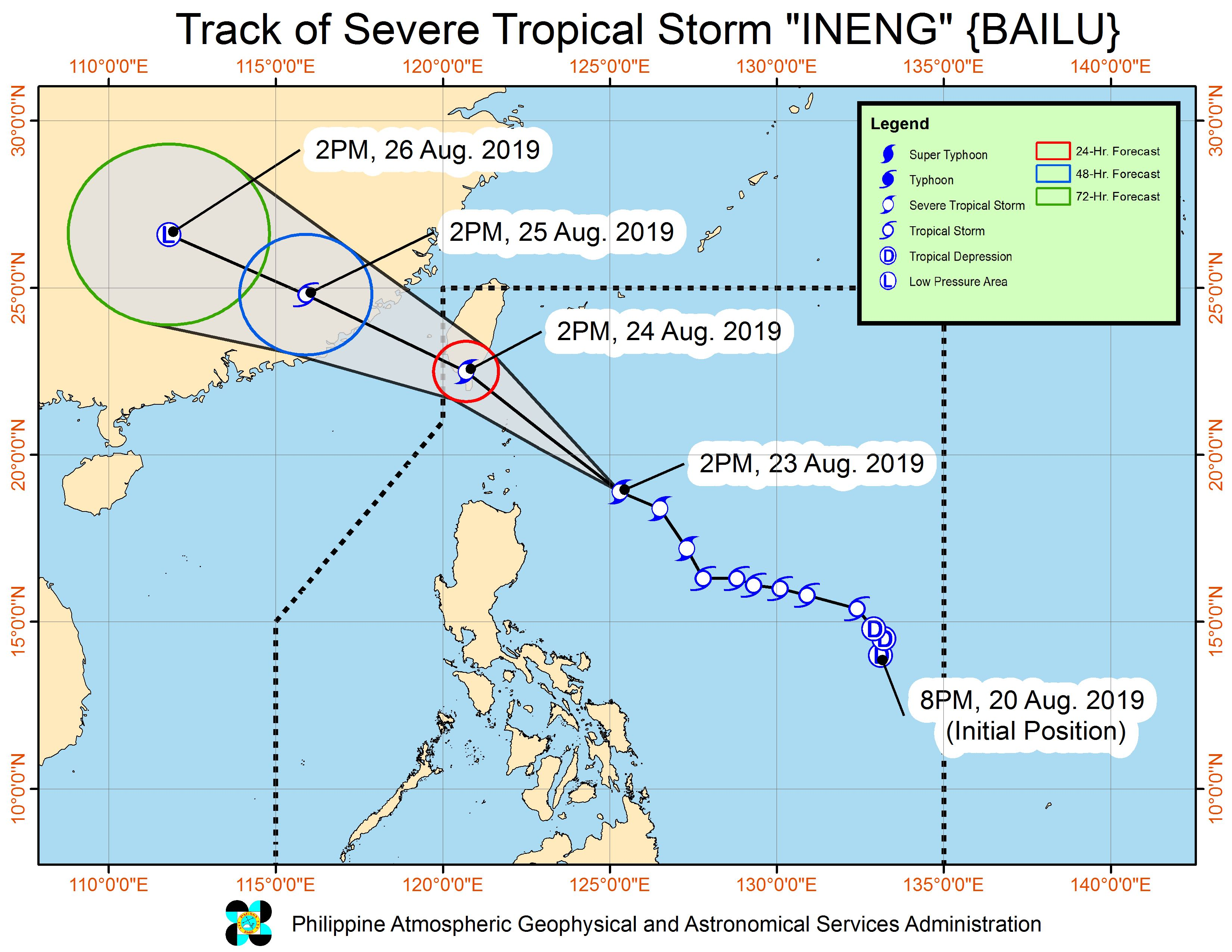 Forecast track of Severe Tropical Storm Ineng (Bailu) as of August 23, 2019, 5 pm. Image from PAGASA