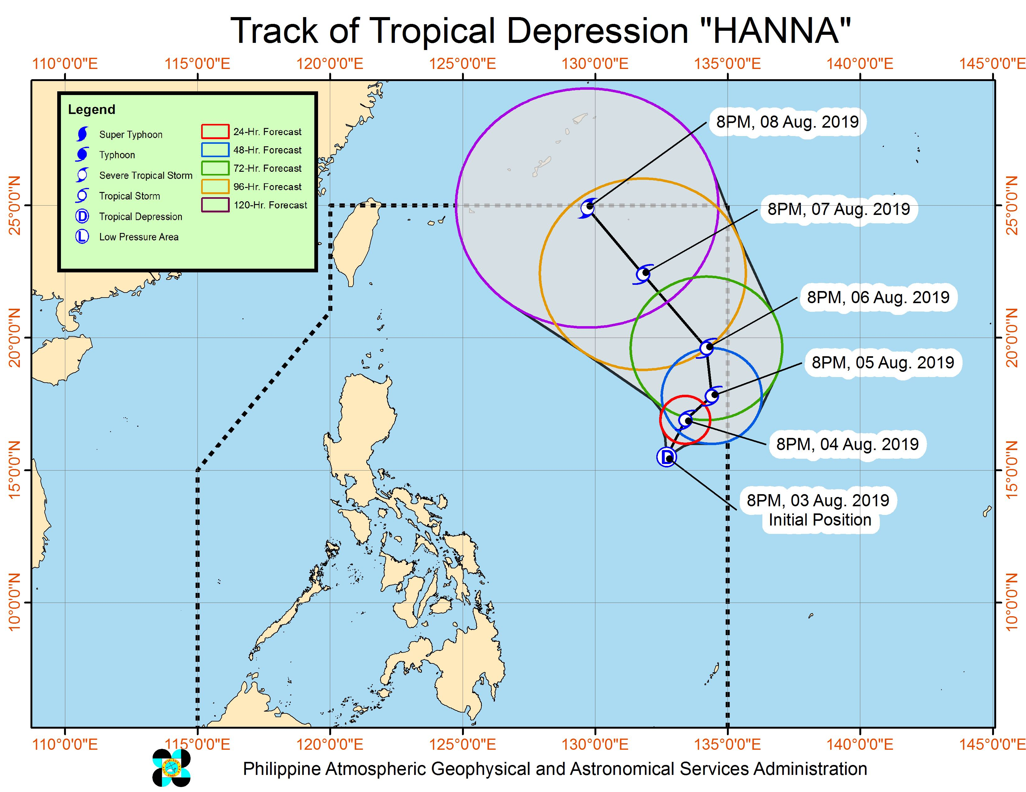 Forecast track of Tropical Depression Hanna as of August 3, 2019, 11 pm. Image from PAGASA