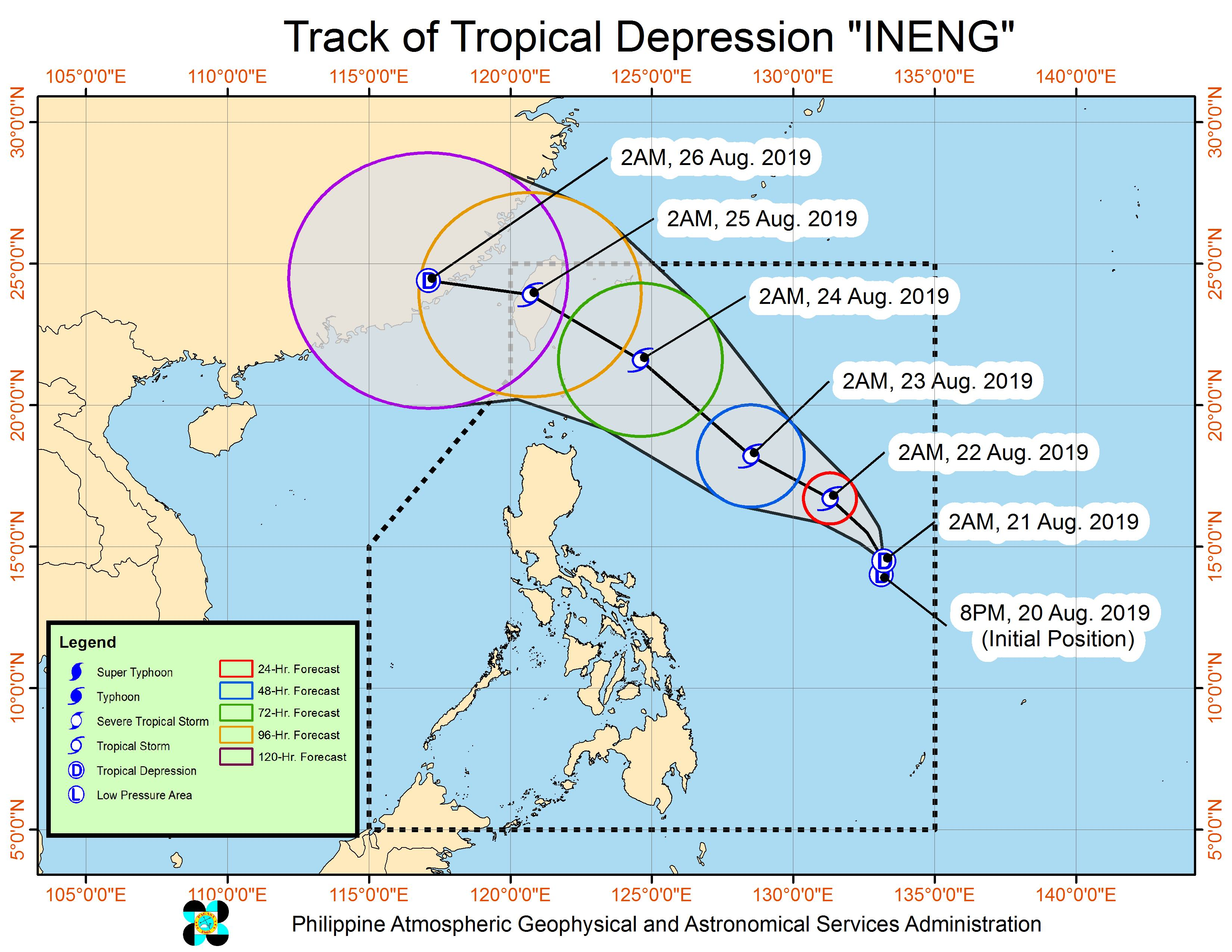 Forecast track of Tropical Depression Ineng as of August 21, 2019, 5 am. Image from PAGASA