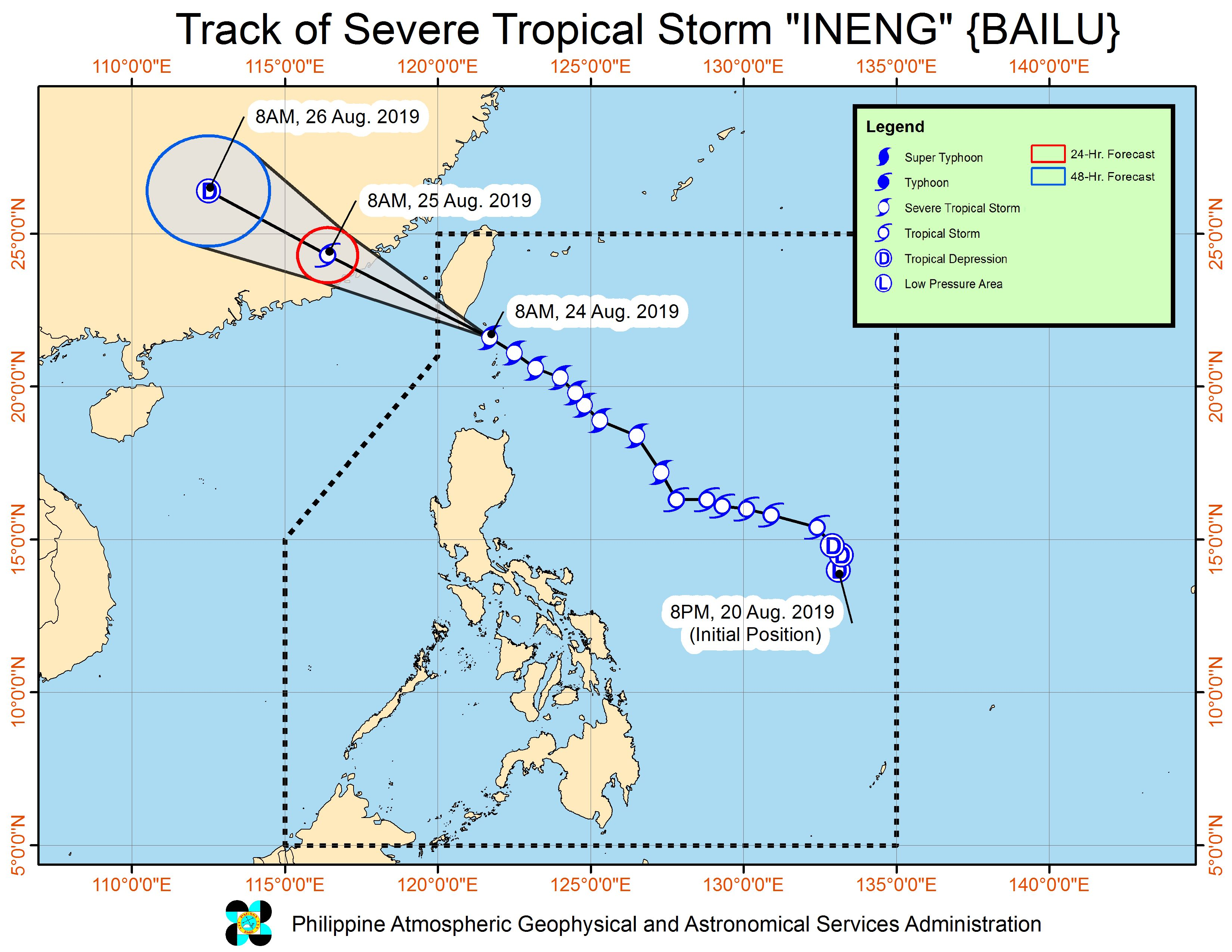 Forecast track of Severe Tropical Storm Ineng (Bailu) as of August 24, 2019, 11 am. Image from PAGASA